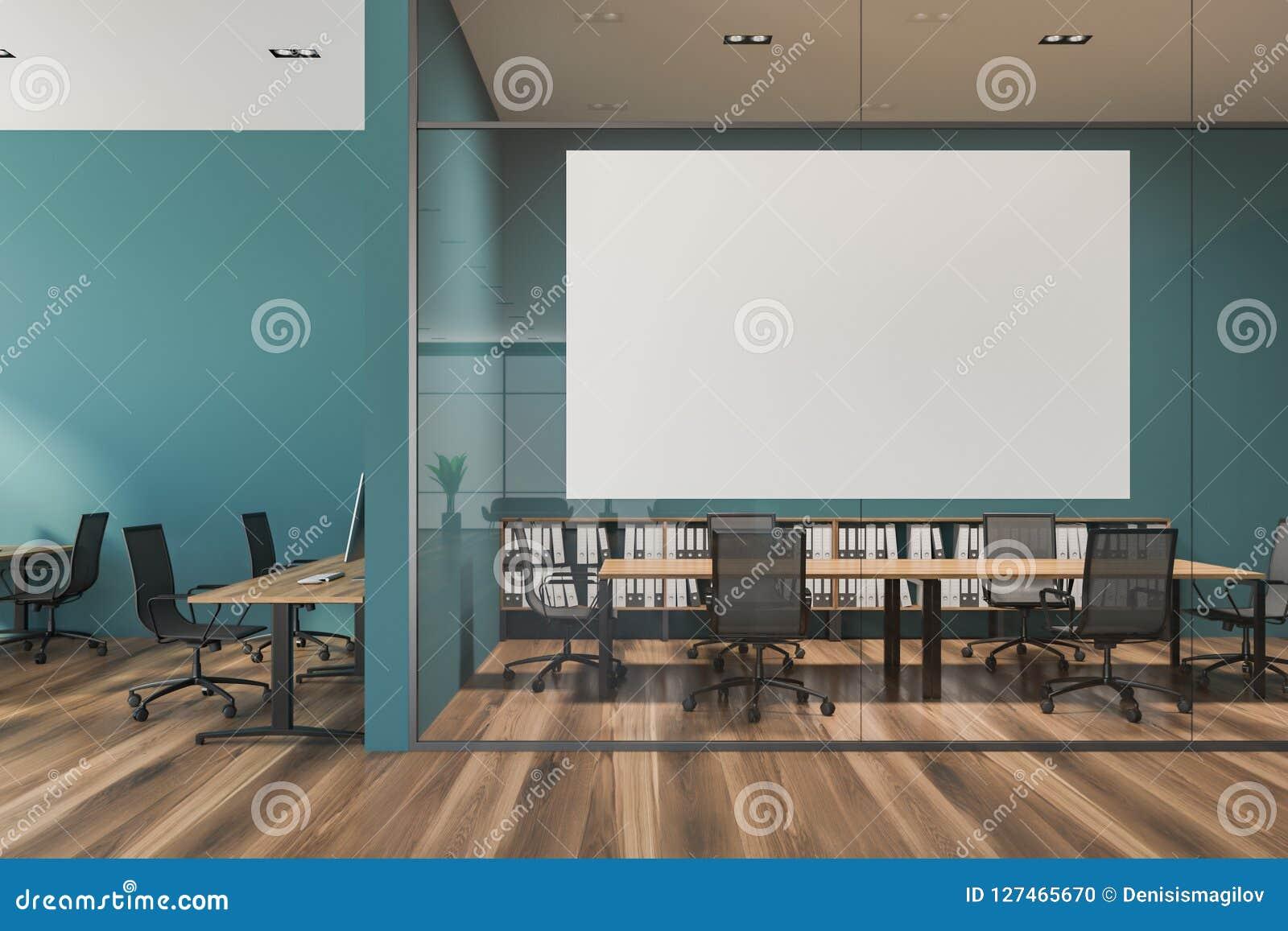 Blue Office Meeting Room Glass Walls Poster Stock Illustration Illustration Of Finance Modern 127465670