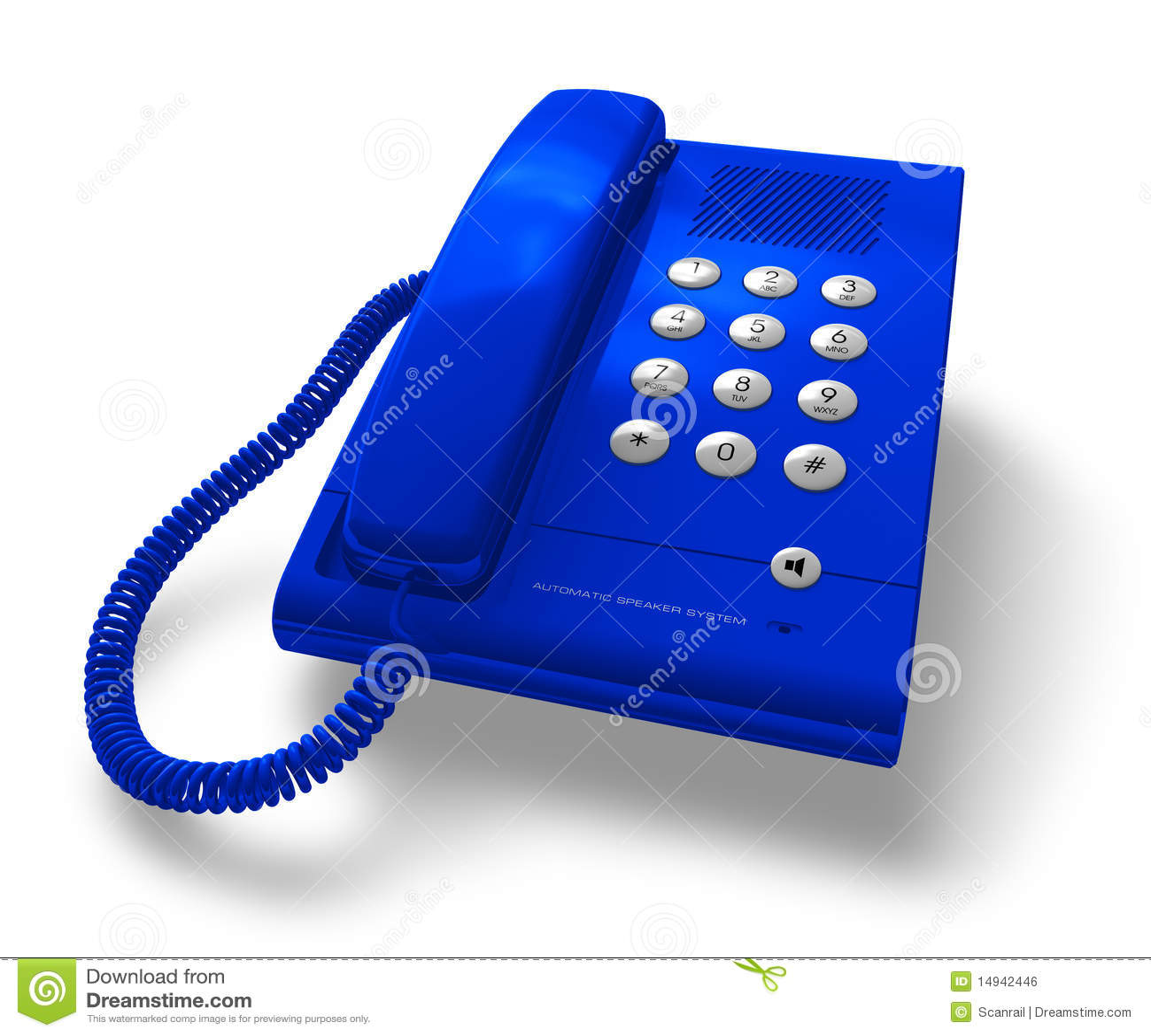 Blue Office: Blue Office Phone Stock Illustration. Illustration Of Cord