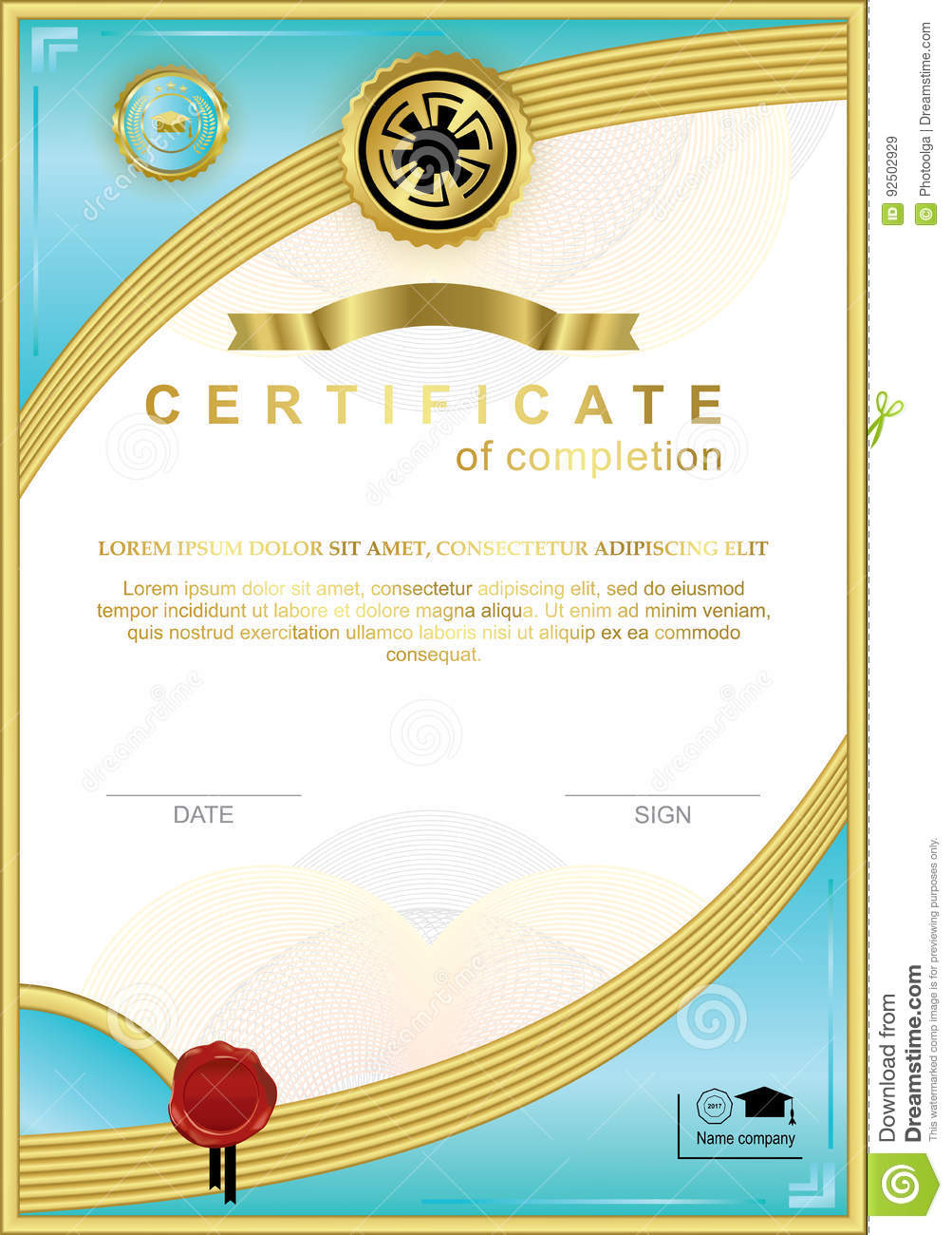 Blue Official Certificate With Wafer Emblem Gold Design Elements