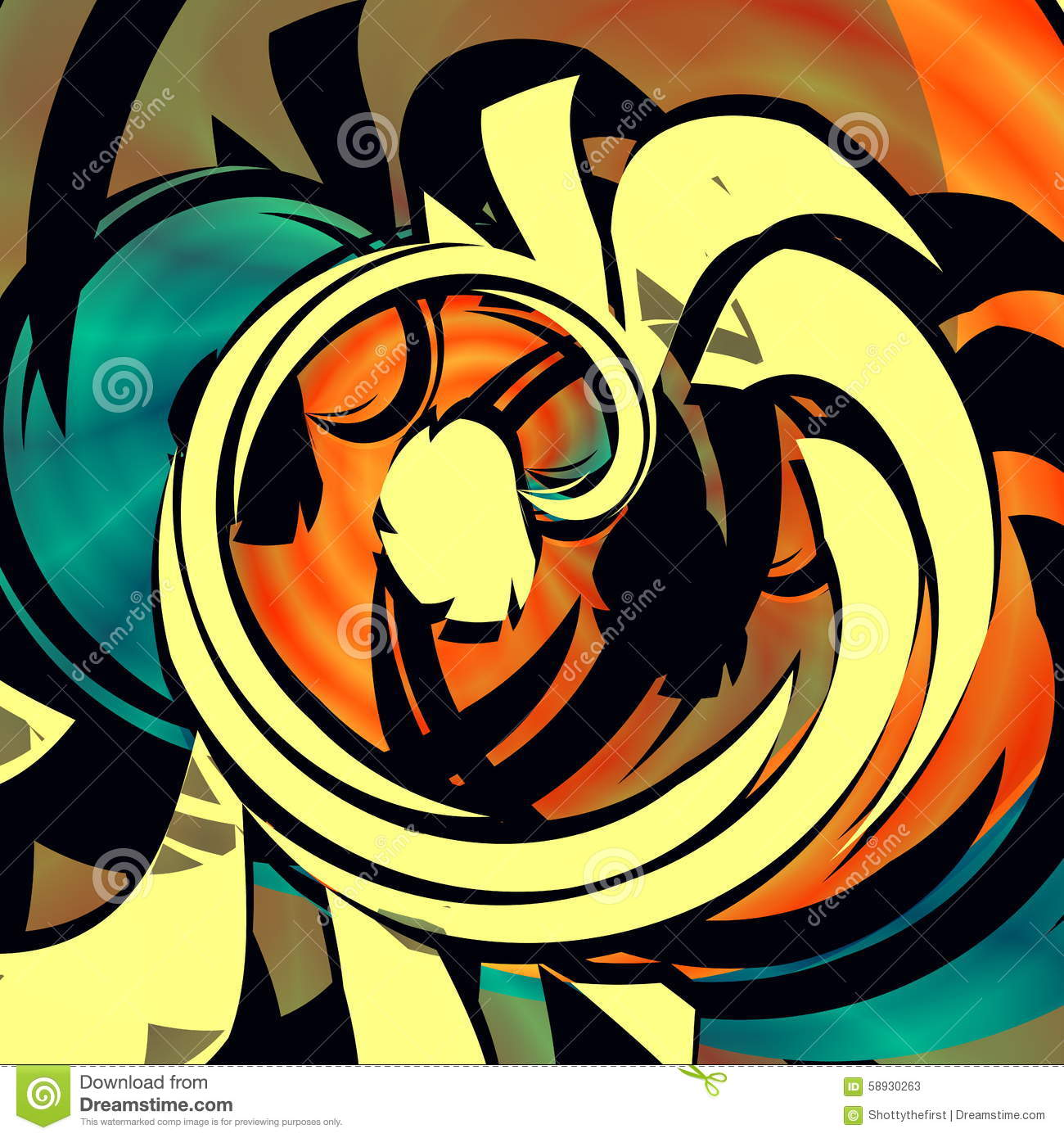 Blue Orange Abstract Art Mixed Curl Arty Poster Style Web Graphics Unique Shape Graphic Arts Wallpaper Funny Picture