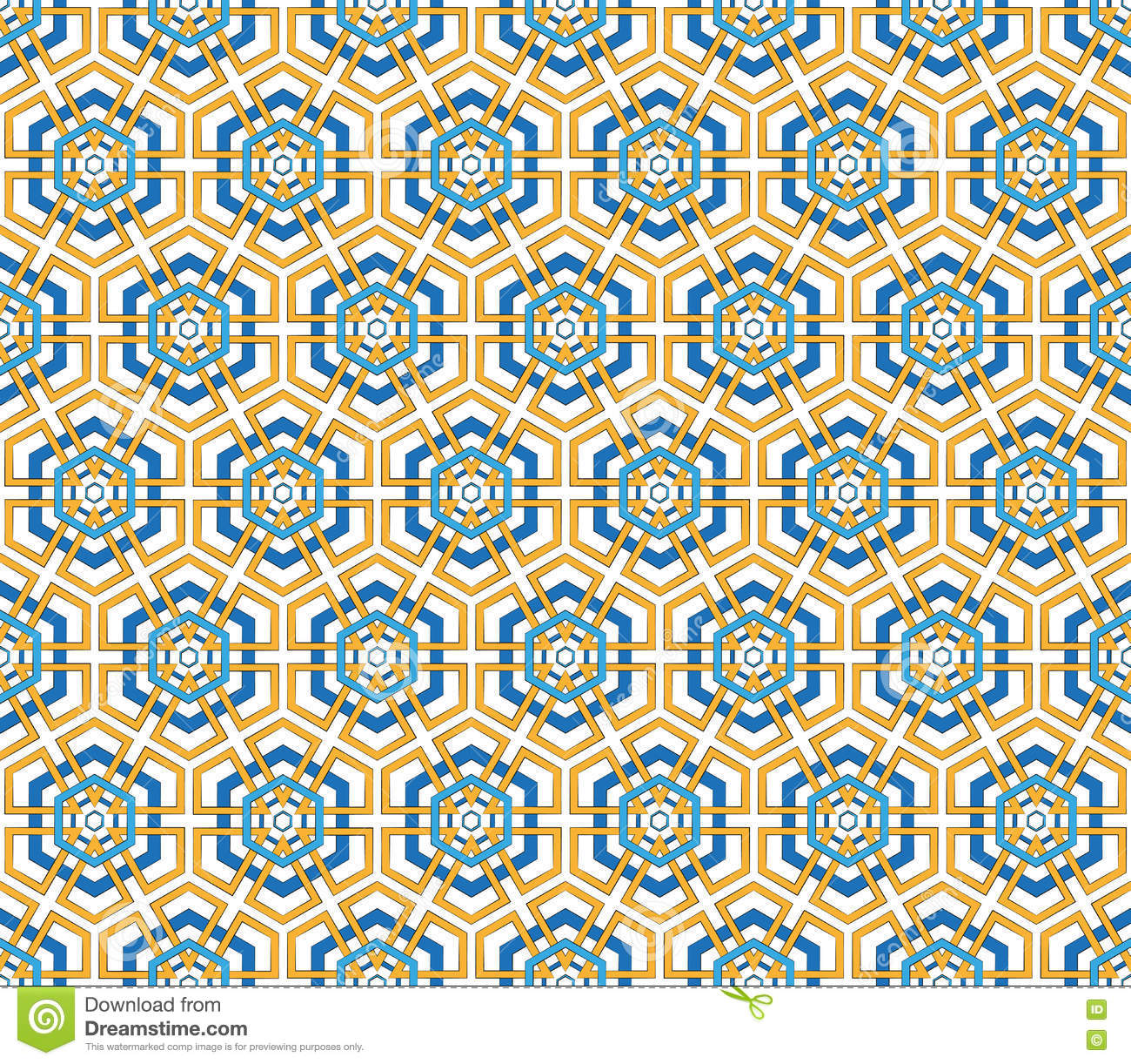 Blue and orange color hexagonal pattern