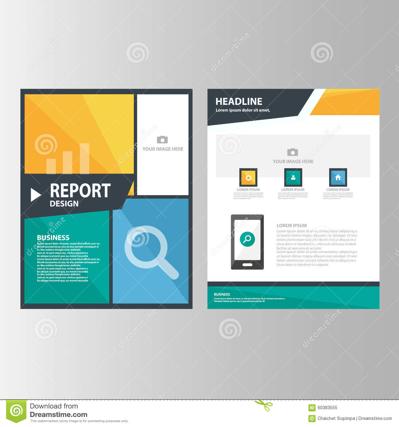 blue orange green annual report presentation template elements icon