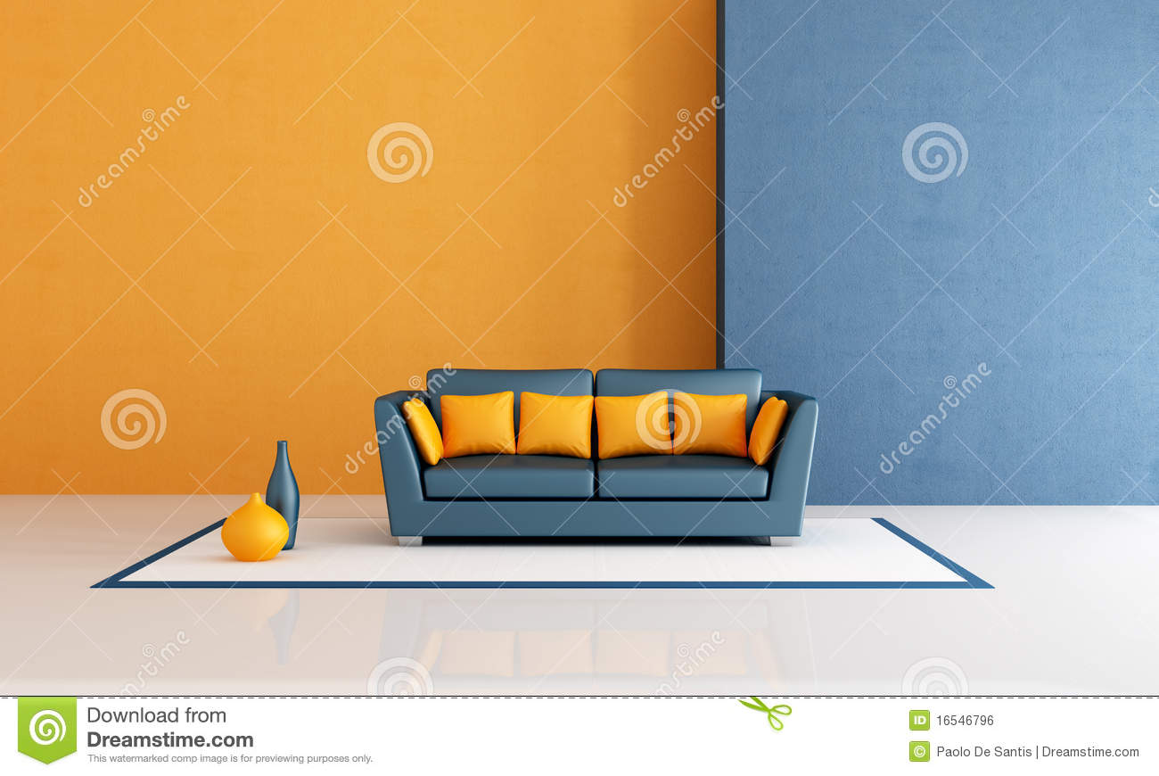 Blue and orange living room royalty free stock image for Blue and orange room