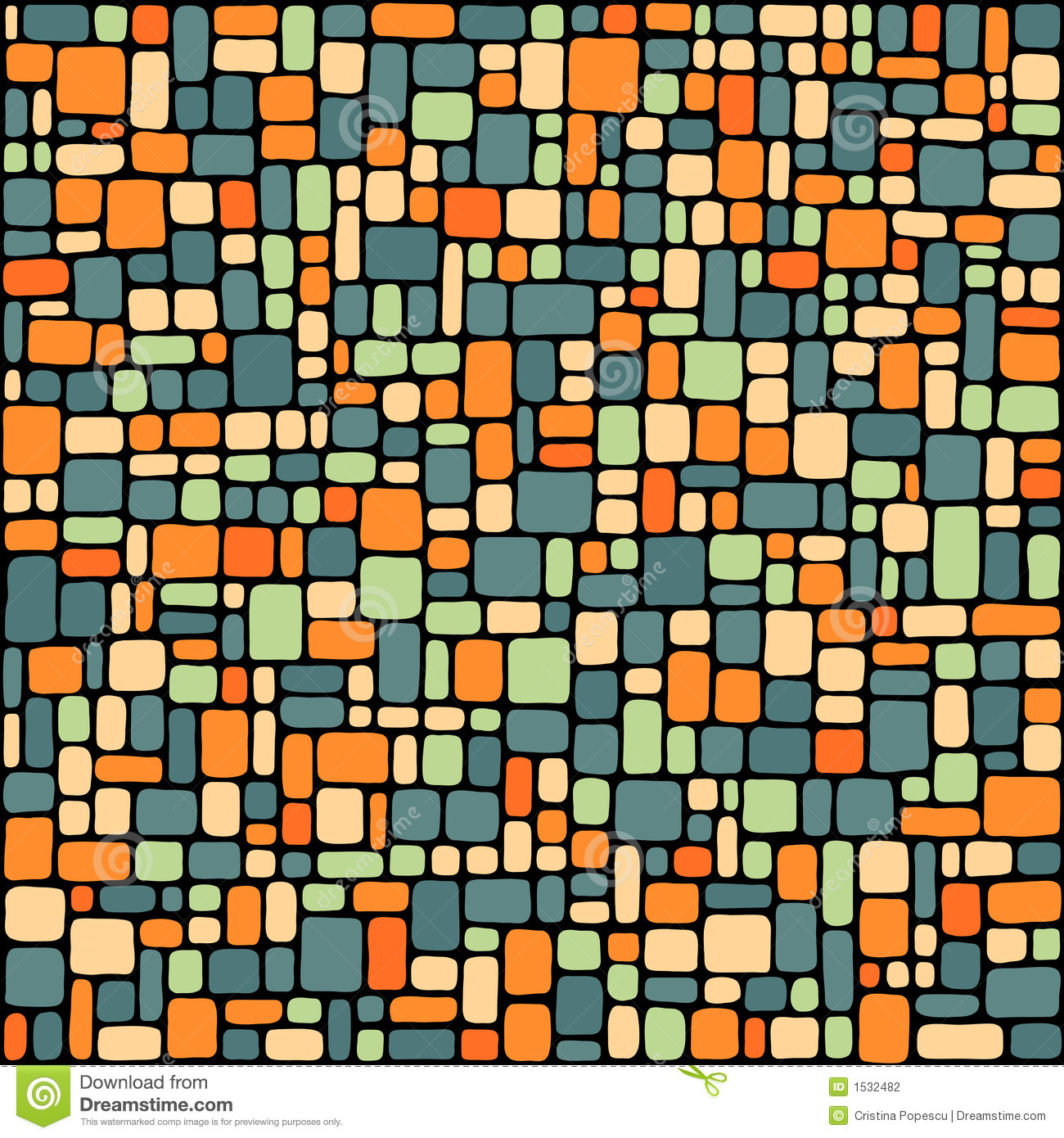 blue and orange tiles background stock vector