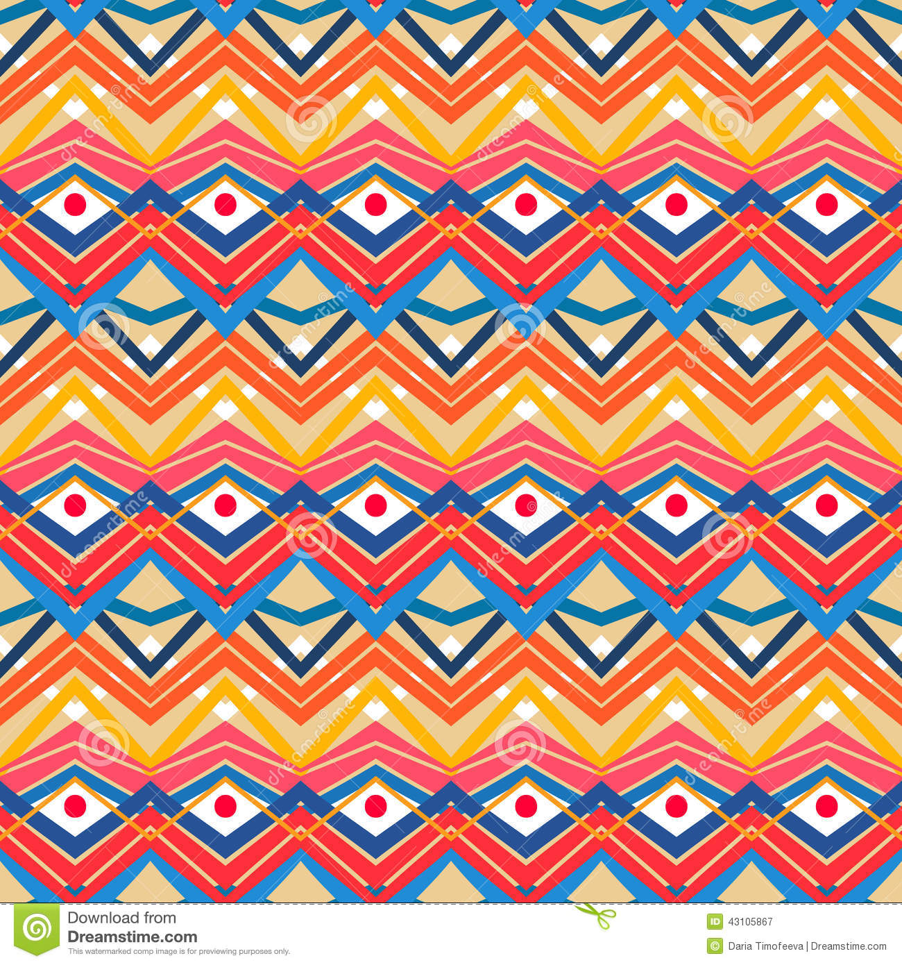 Blue and orange tribal pattern stock vector image 43105867
