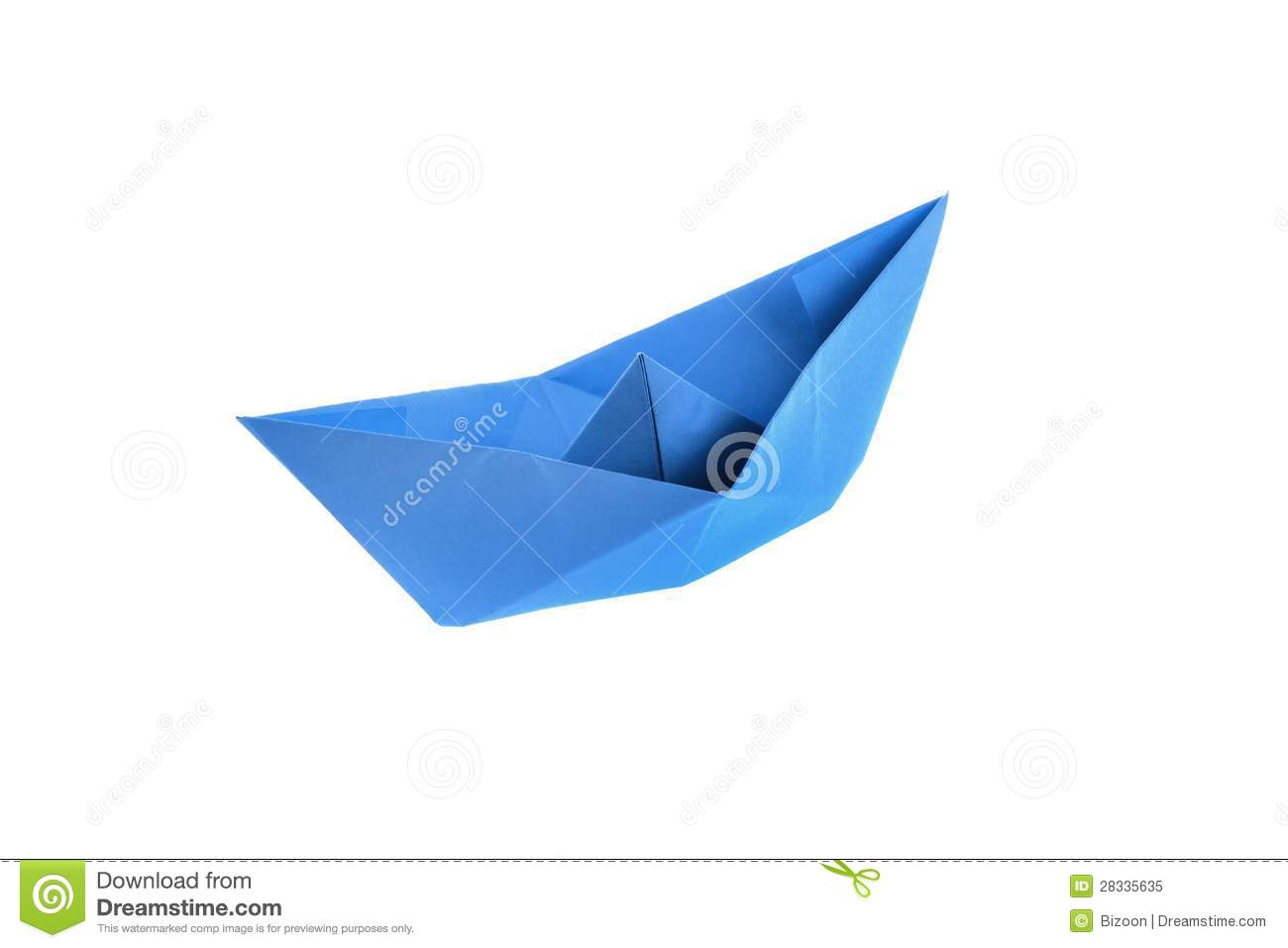 Blue origami paper boat isolated on white.
