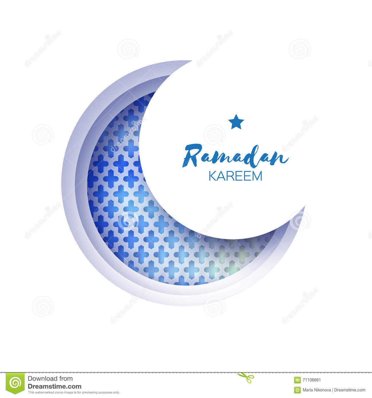 Blue Origami Crescent Moon Mosque Window Ramadan Kareem