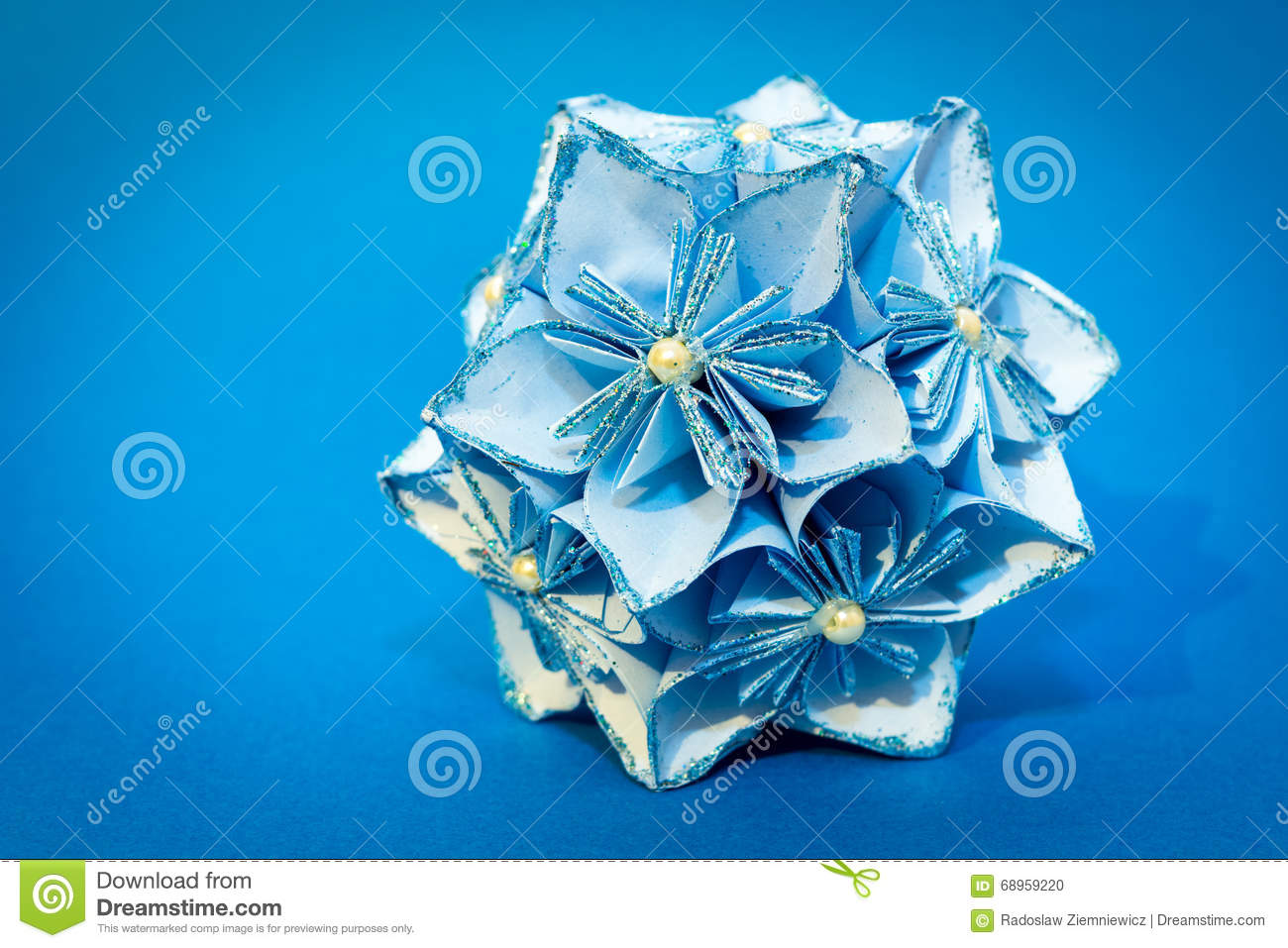 Blue origami flower ball on the blue background stock photo image blue origami flower ball on the blue background mightylinksfo
