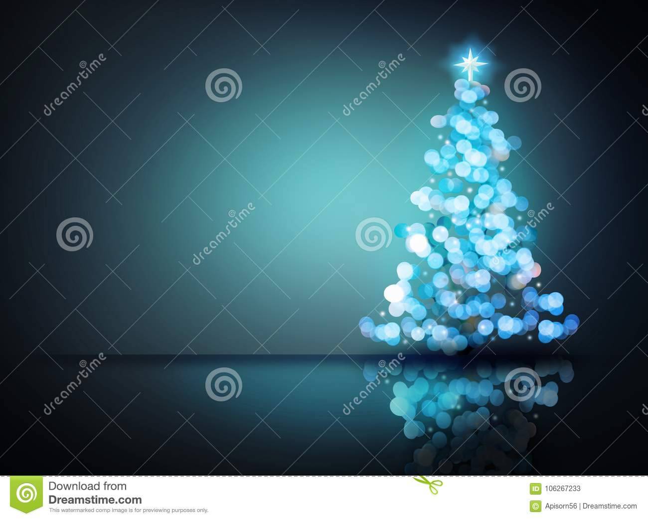 Blue ornament christmas tree. digital decoration concept and glowing