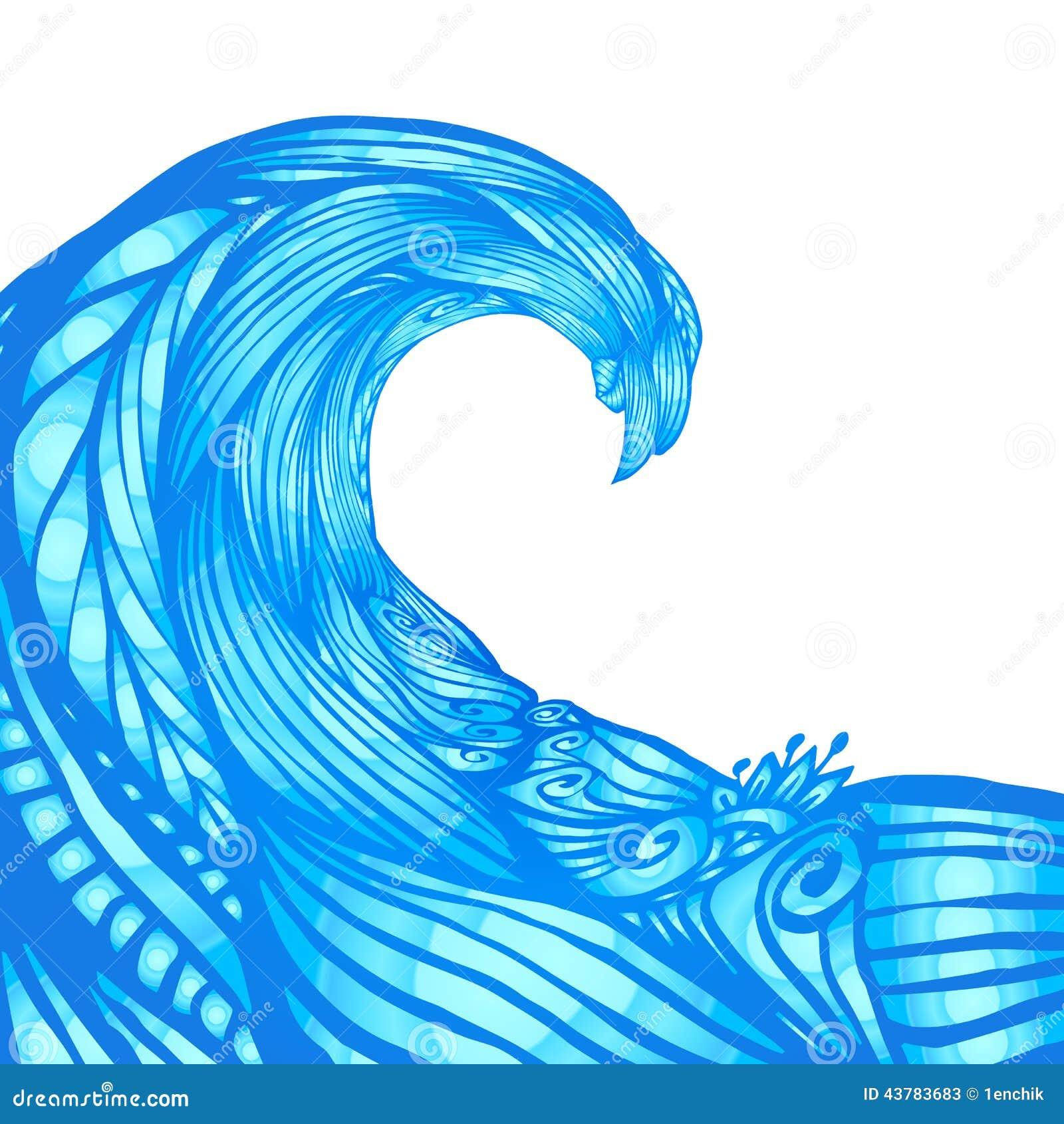 Blue Ornate Doodle Wave Vector