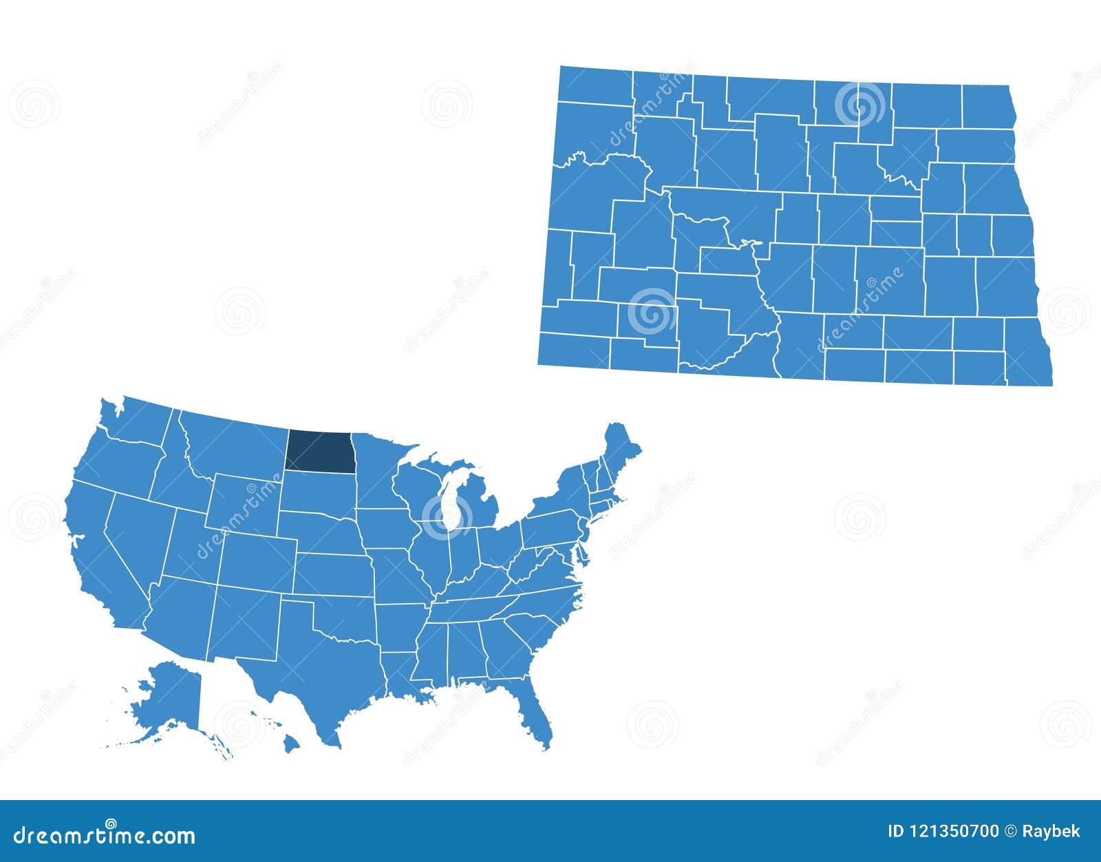 Map of North Dakota state stock illustration. Illustration of ...