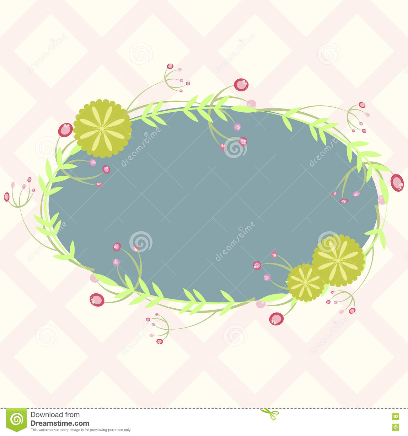 Blue Oval Frame With Floral Elements, Template For Invitation Stock ...