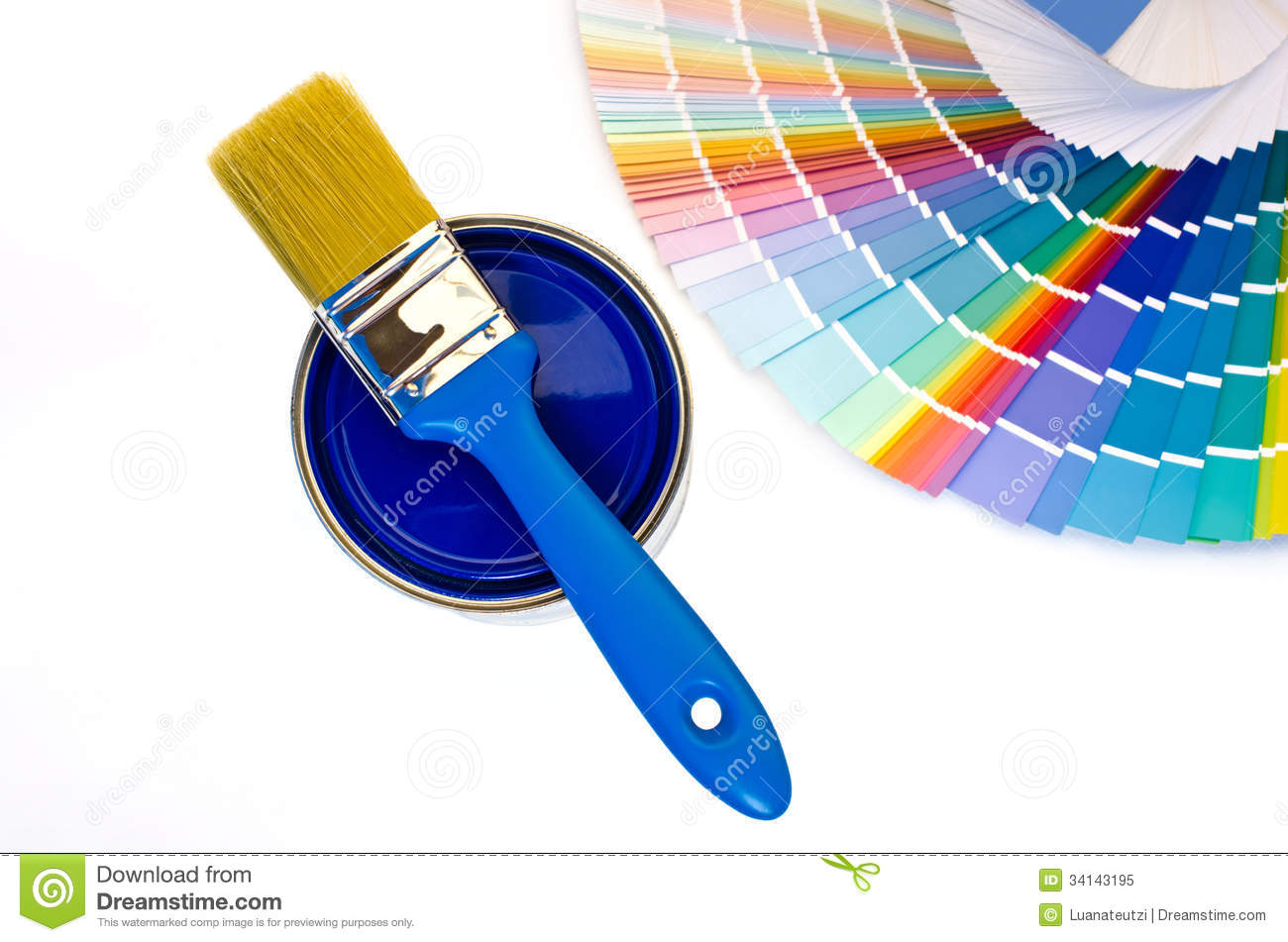 Blue paint samples - Royalty Free Stock Photo