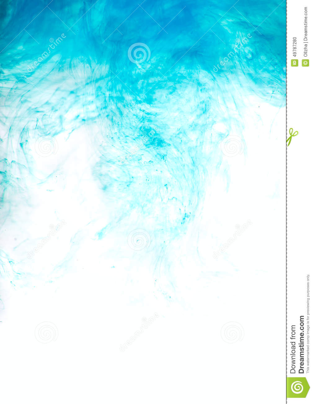 blue paint in water abstract isolated background stock photo