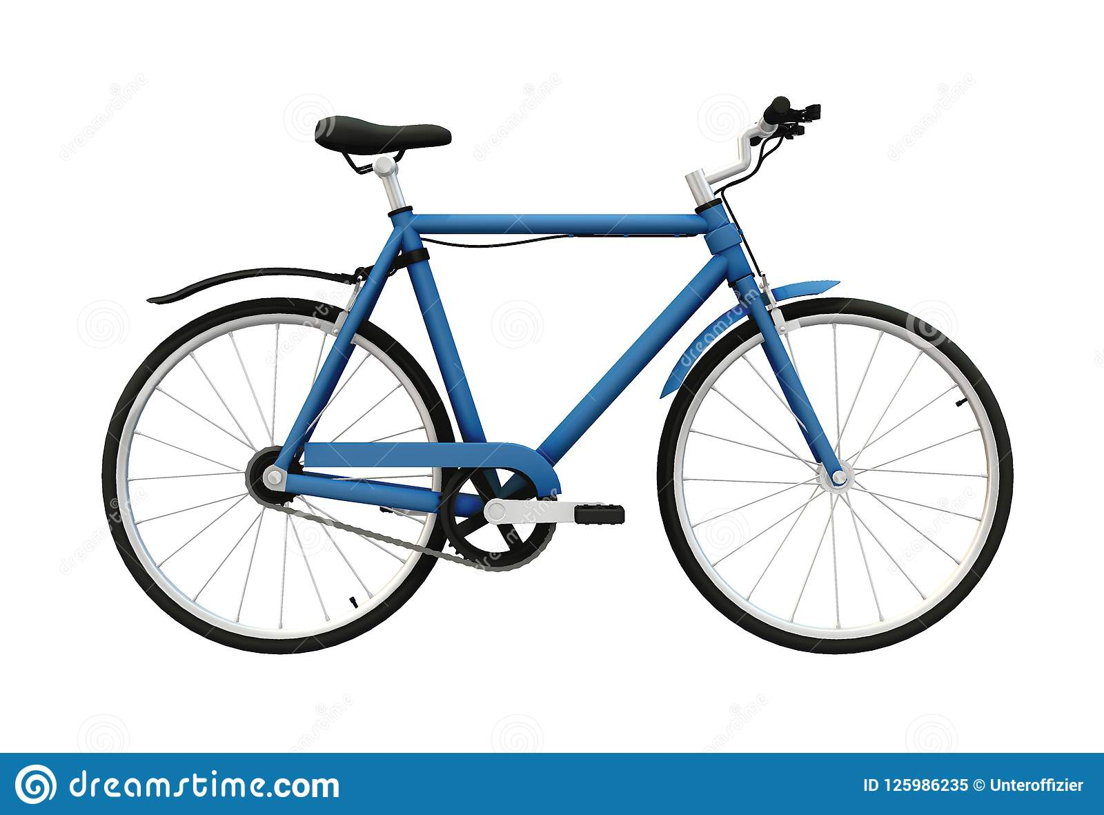 A Blue Painted Frame Bicycle For Adults Stock Illustration ...