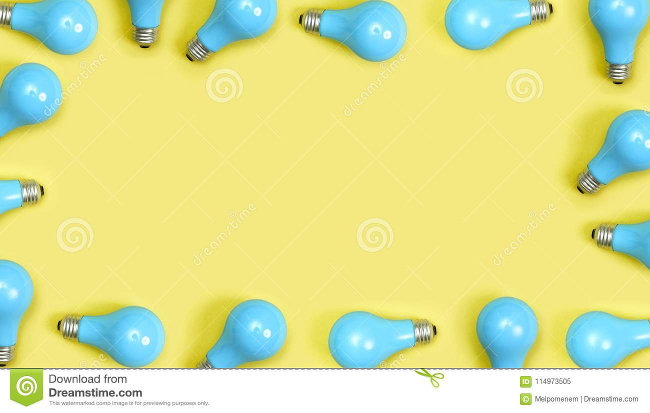 Download Blue Painted Lightbulbs Stock Image. Image Of Minimal   114973505
