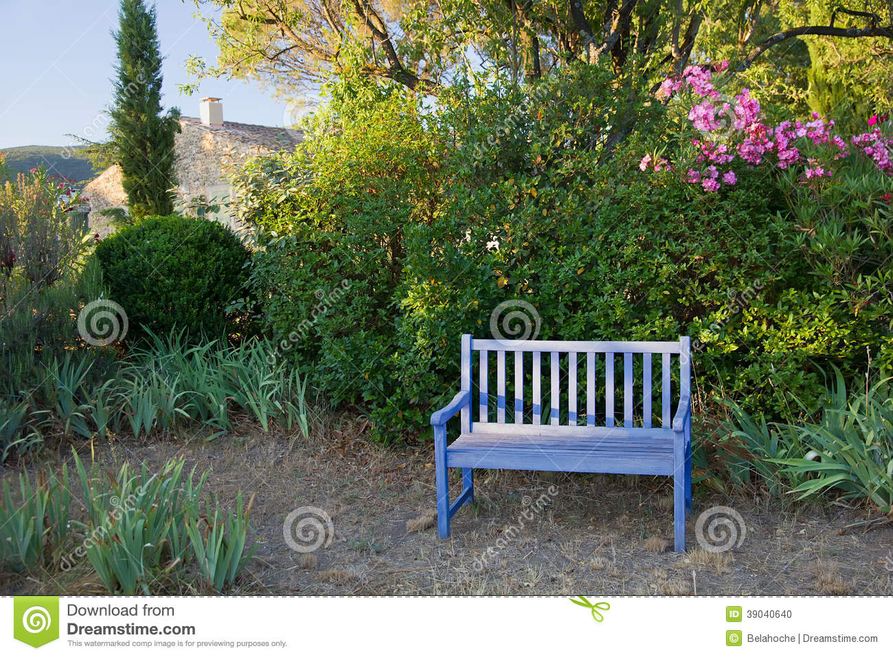 Blue Painted Wooden Garden Bench Provence France Stock