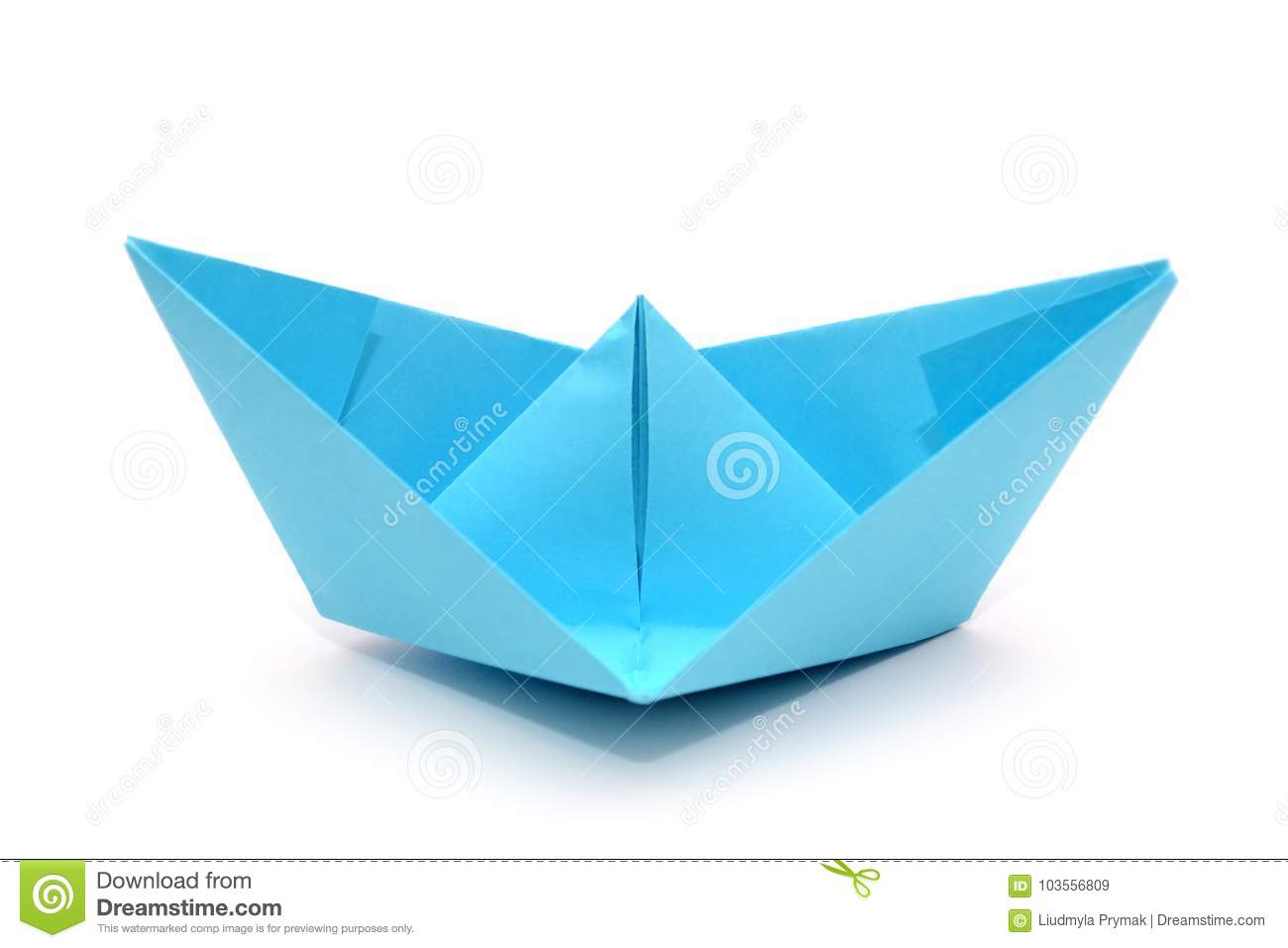 Download Blue Paper Boat Origami Stock Image