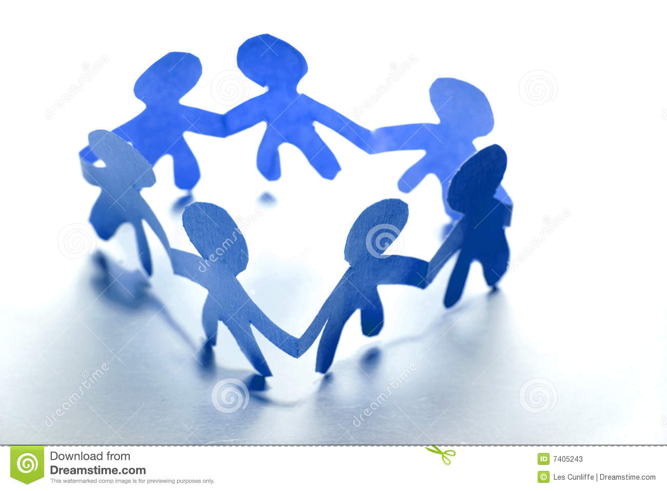 Blue Paper Dolls In Circle Stock Image Image Of People