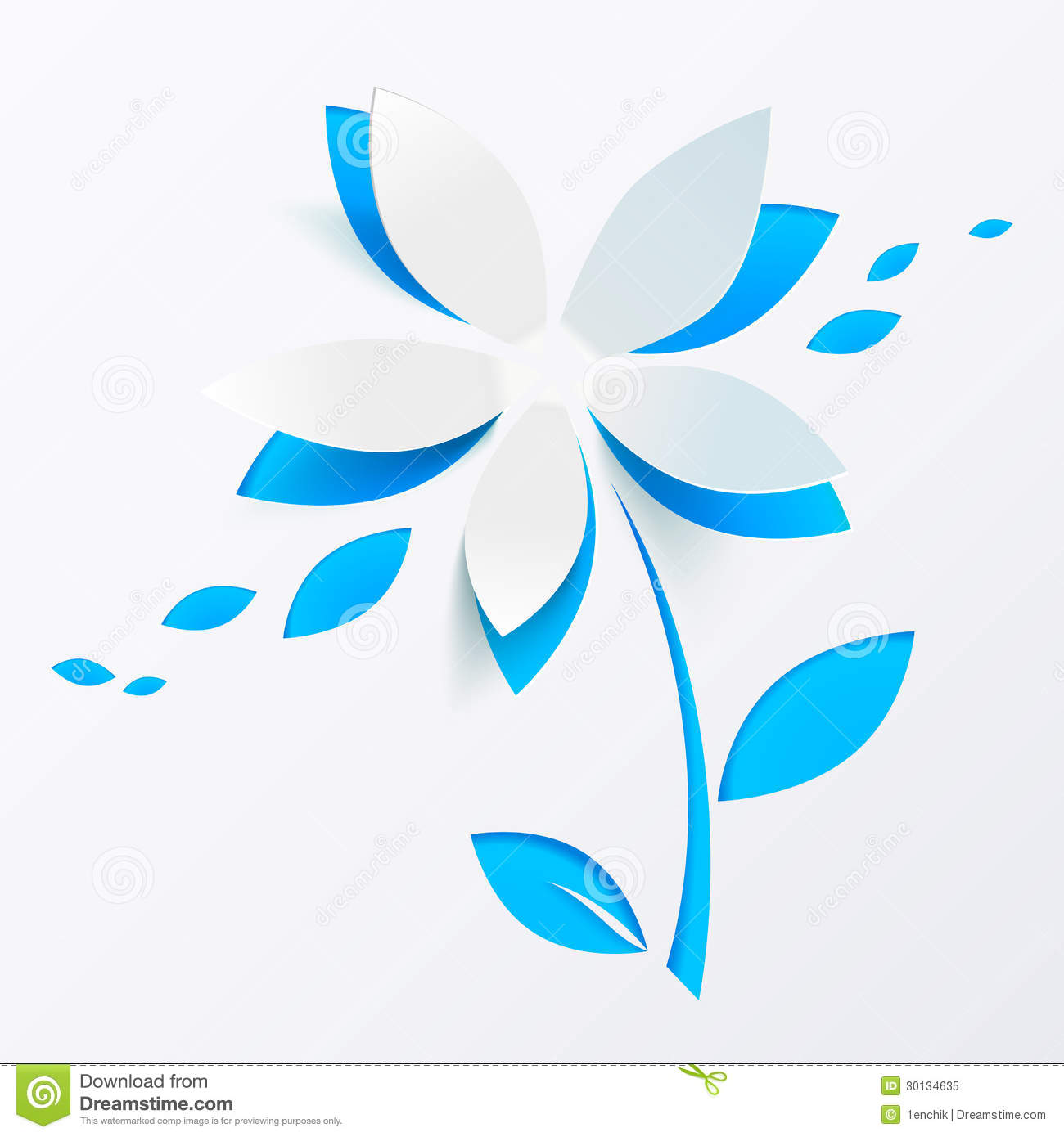 ... Free Stock Photo: Blue paper flower vector greeting card template