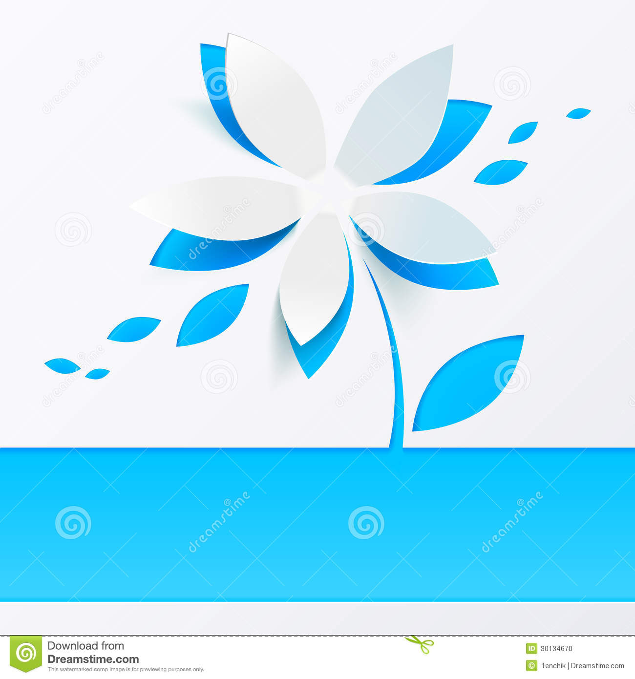Blue paper flower vector greeting card template. This is file of EPS10 ...