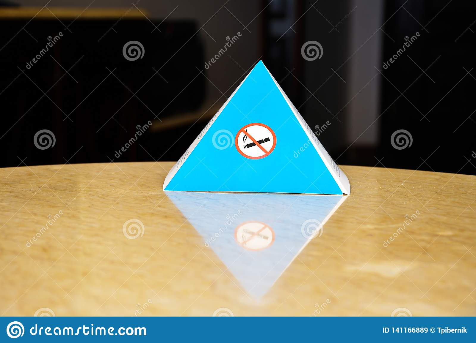 Blue paper sign for smoking prohibition in indoor places