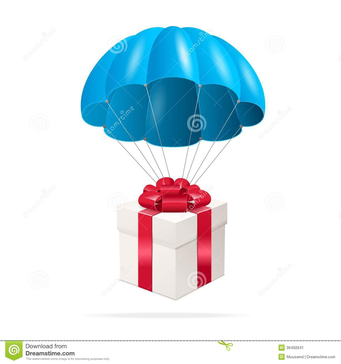 Blue Parachute With A Gift Box Stock Vector - Image: 36492641