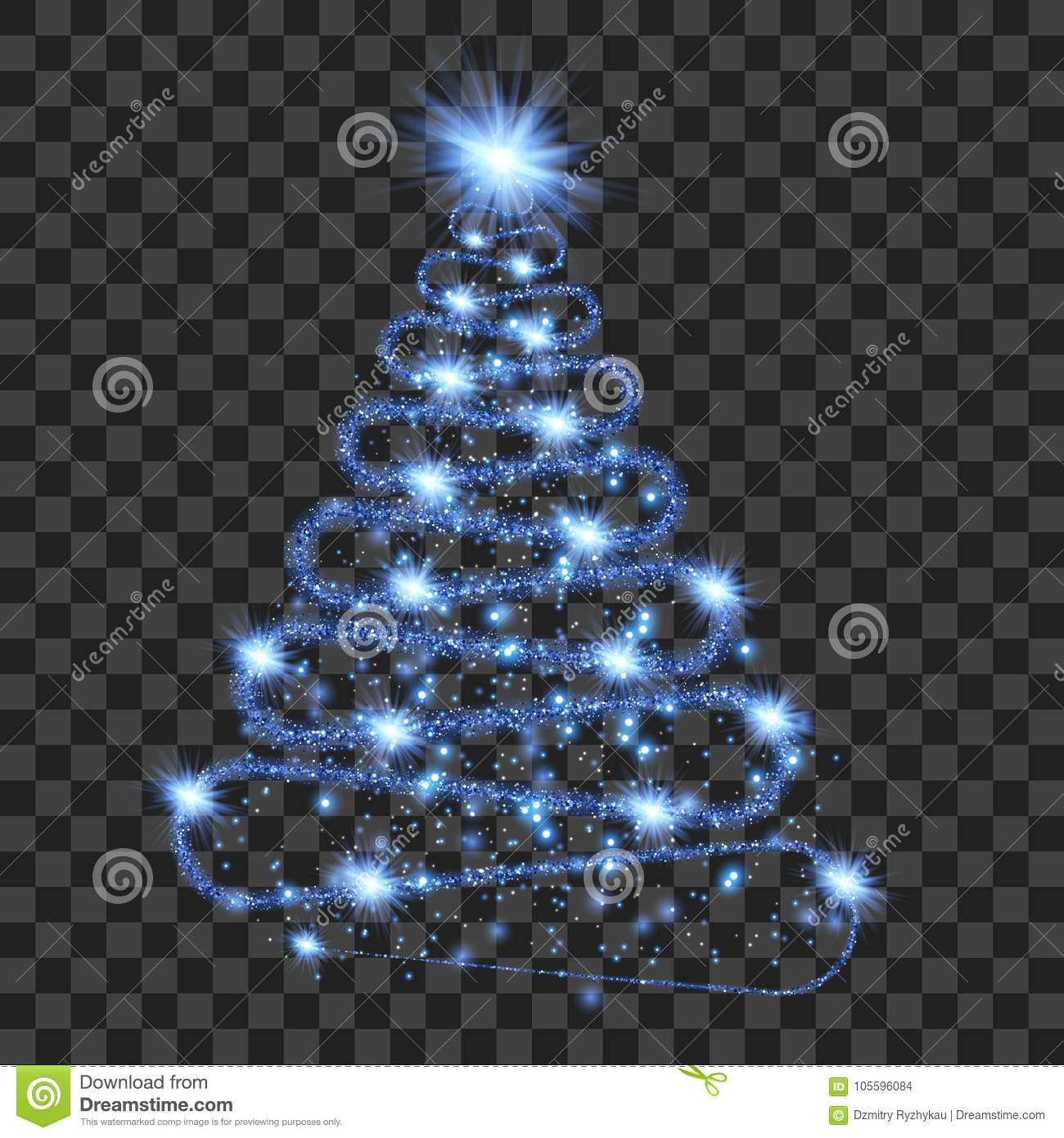 Blue particle wave in form of christmas tree
