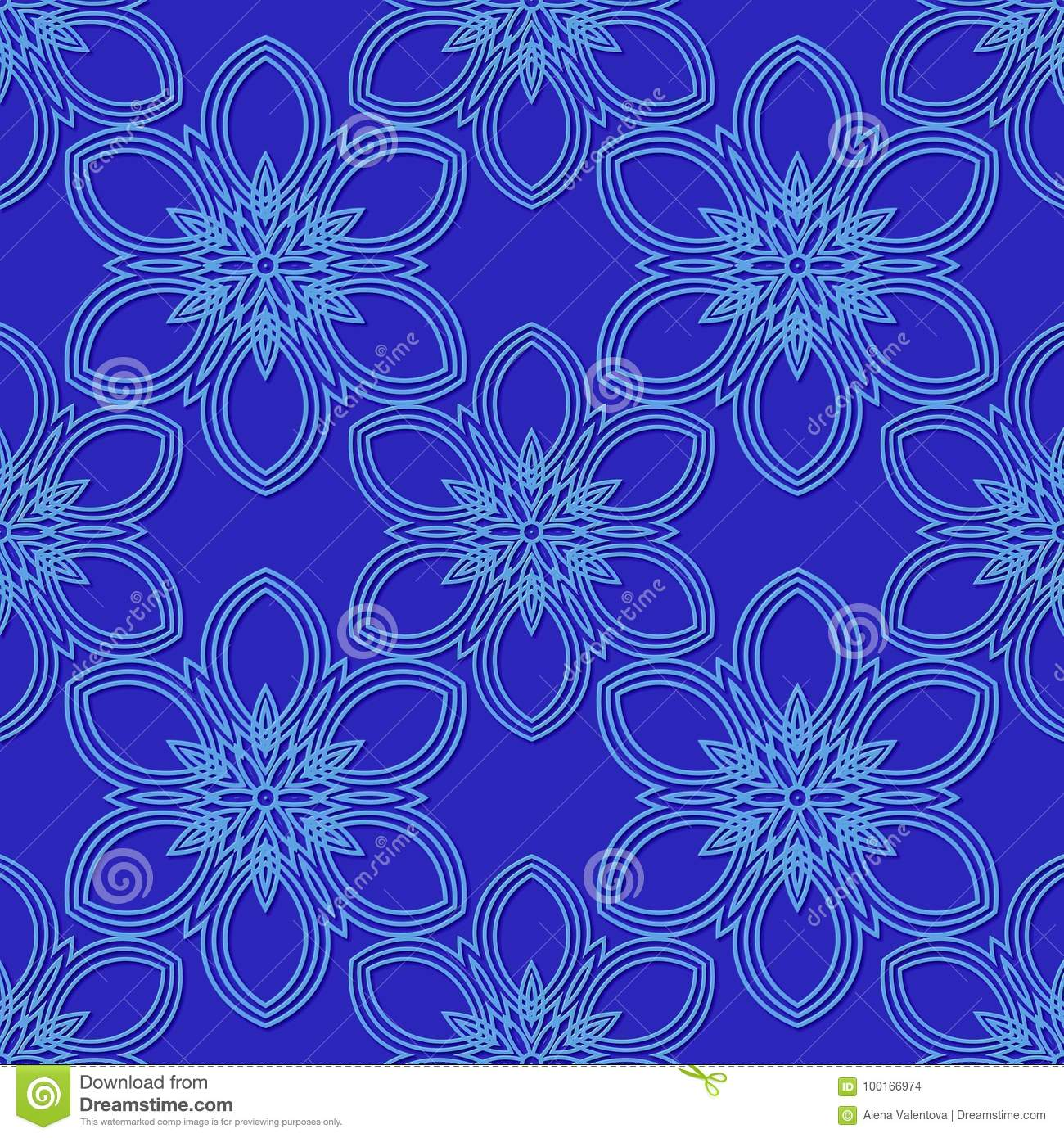 blue pattern with flowers seamless pattern for printing on canvas