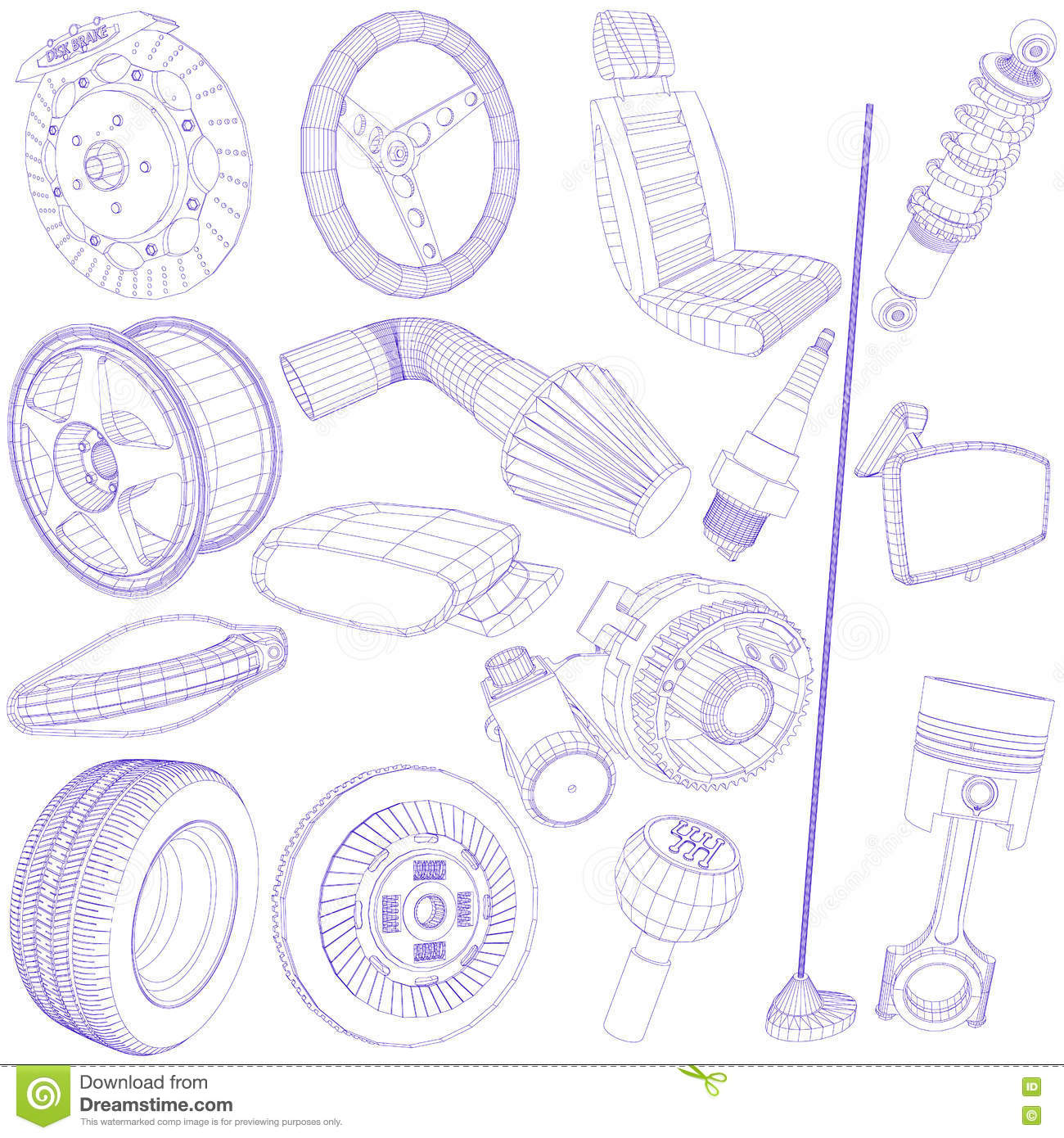 Blue pen of car parts icon stock vector. Illustration of inter ...