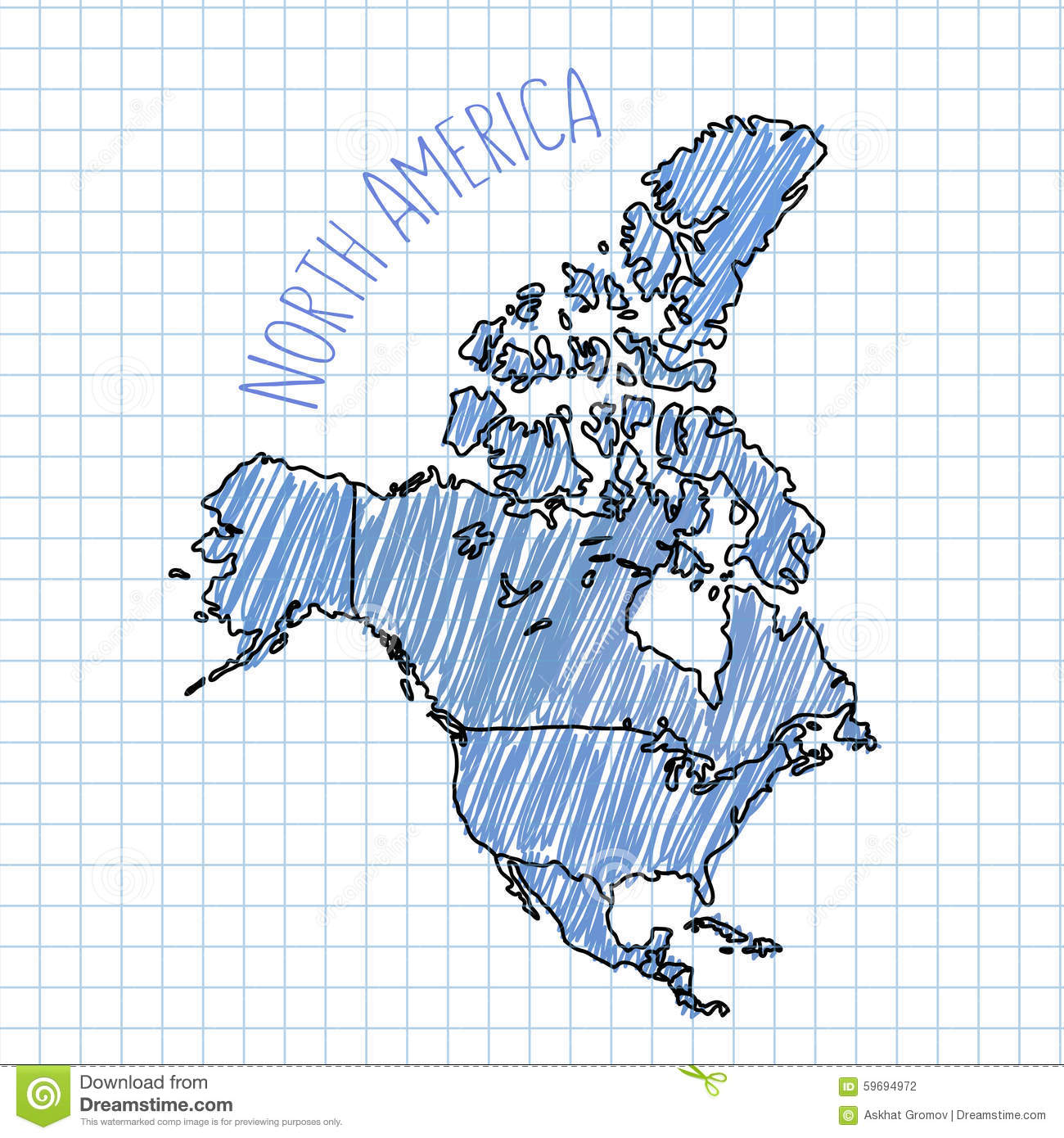 Blue pen hand drawn North America map vector on