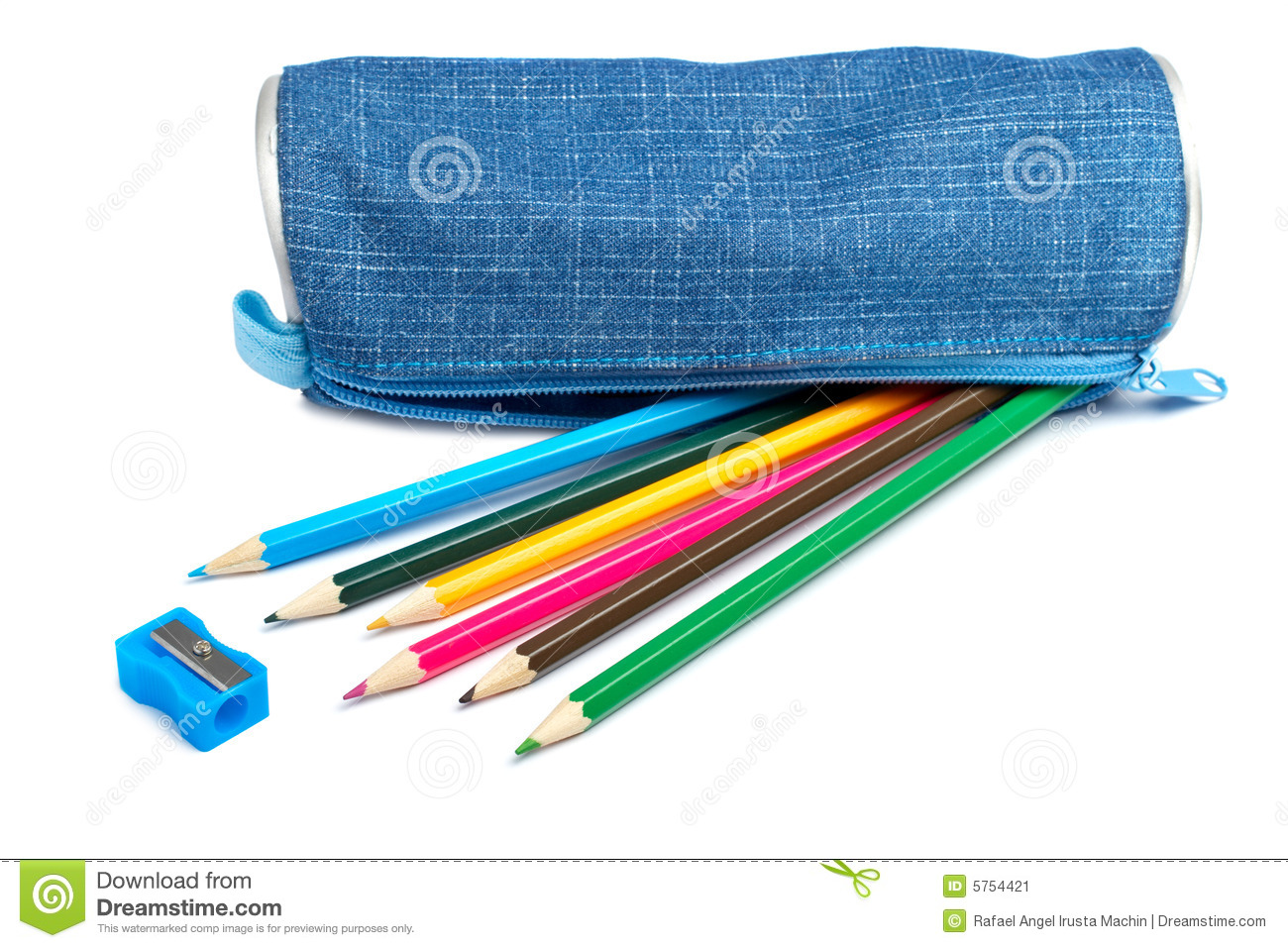 Blue Pencil Case Stock Image Image Of Drawing Crayons