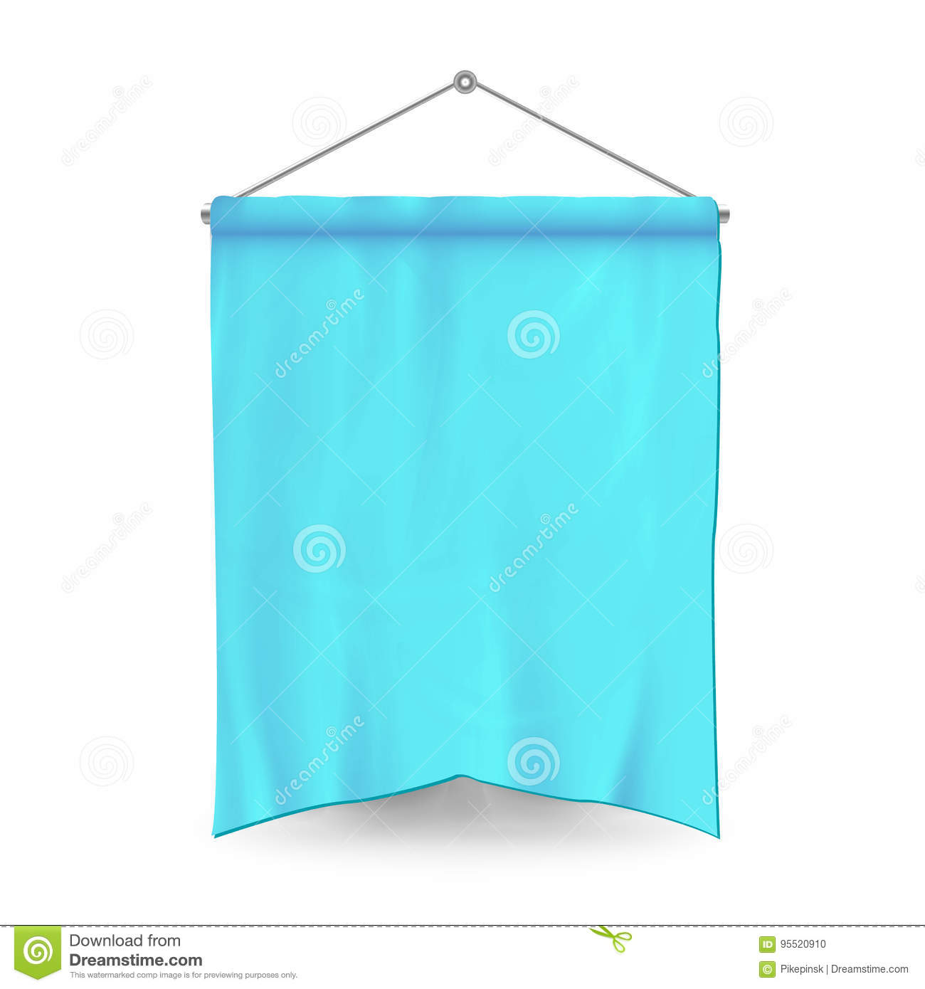 blue pennant template vector empty 3d pennant banner blank classic