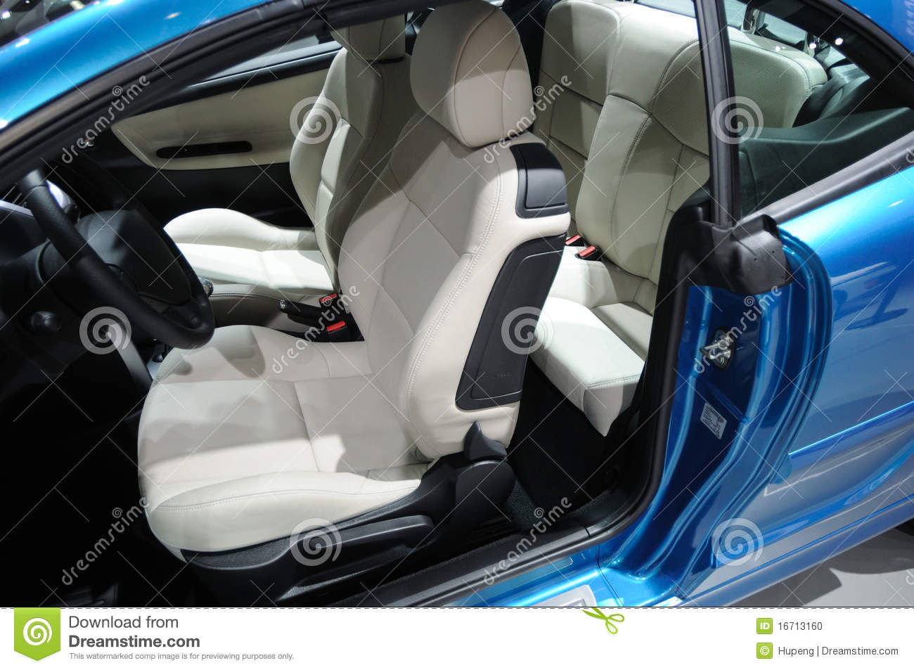 blue peugeot 207cc sport car interior stock photo image 16713160. Black Bedroom Furniture Sets. Home Design Ideas