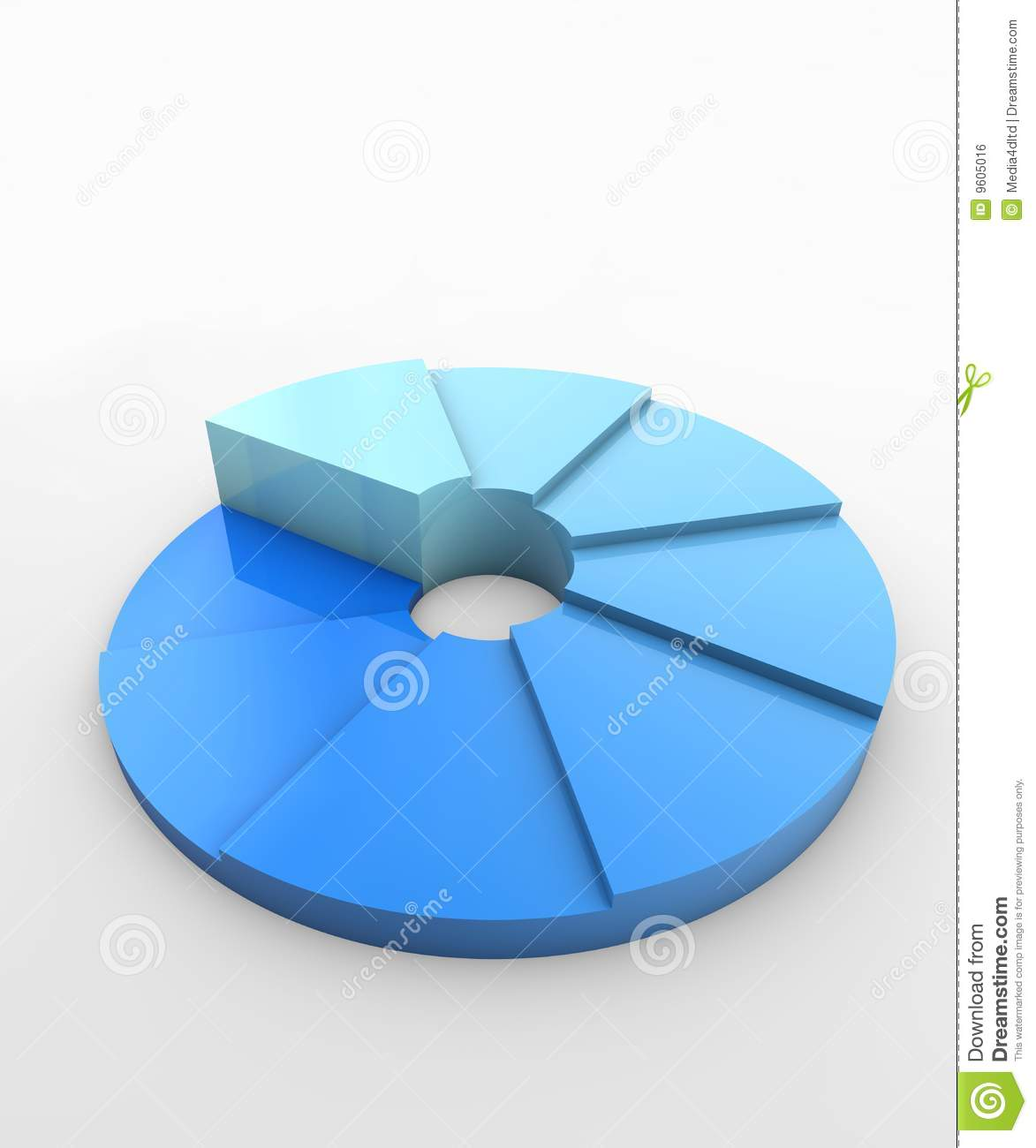 Blue Pie Chart Royalty Free Stock Image - Image: 9605016