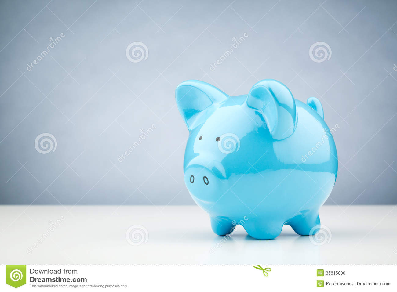 Blue Piggy Bank On A Table Stock Photo Image 36615000