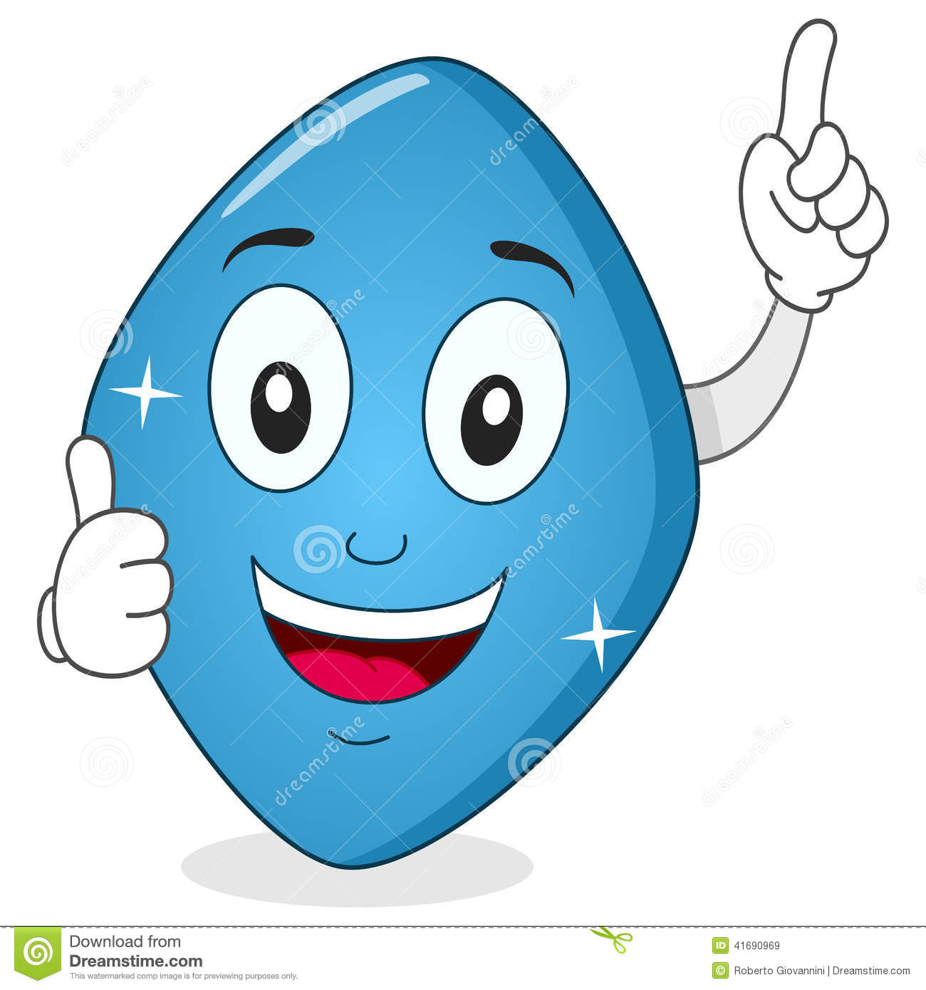 Blue Pill Viagra Character with Thumbs Up