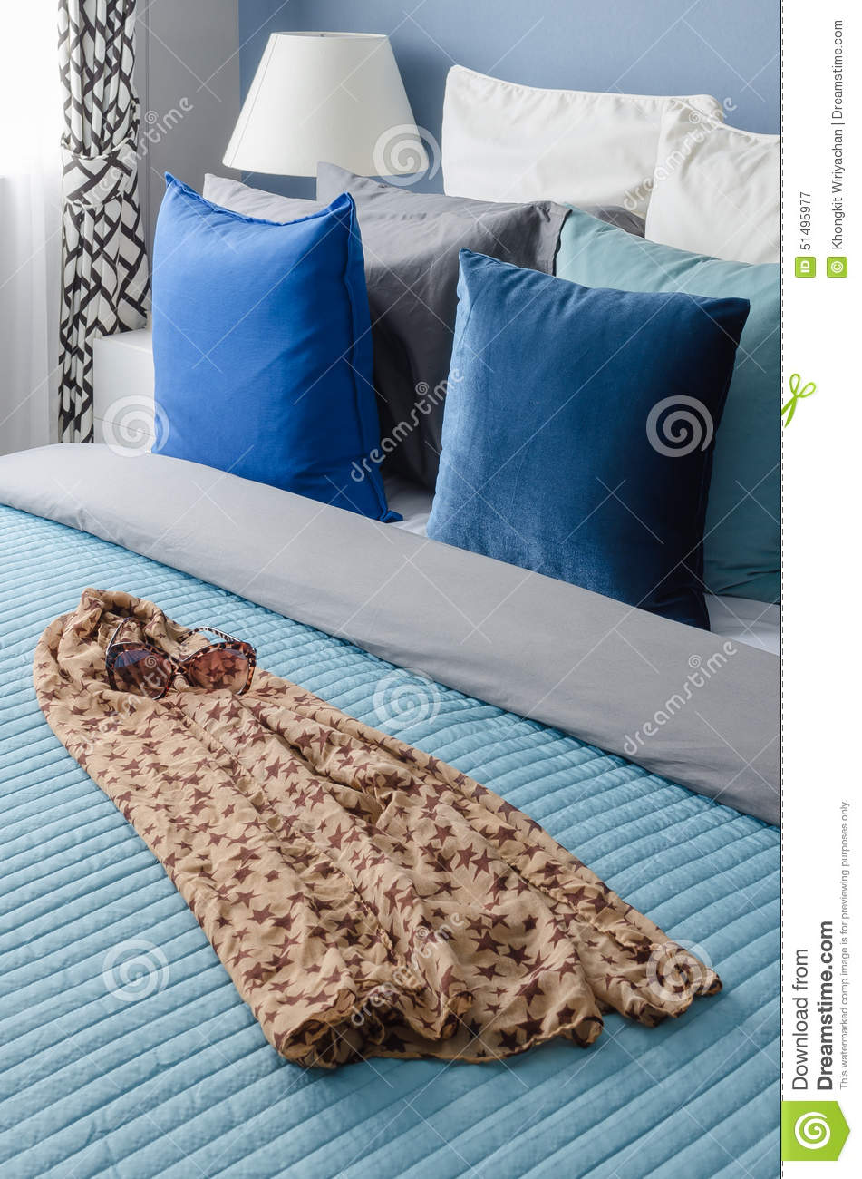 Blue Pillow On Bed With Glasses On Cloth In Modern Bedroom Stock Photo - Image: 51495977