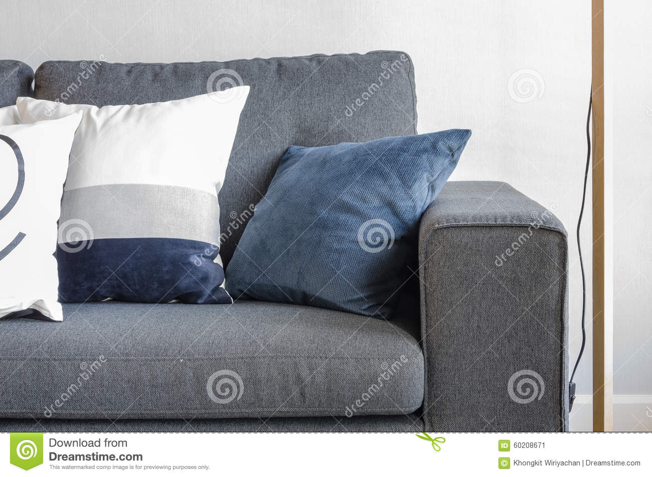 Blue Pillows On Modern Grey Sofa Stock Image - Image of living ...