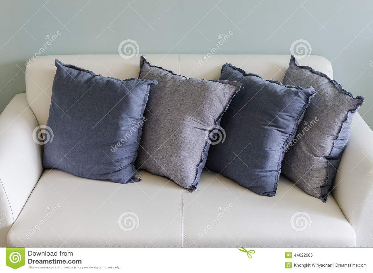 Remarkable Blue Pillows On White Leather Sofa Stock Image Image Of Ncnpc Chair Design For Home Ncnpcorg
