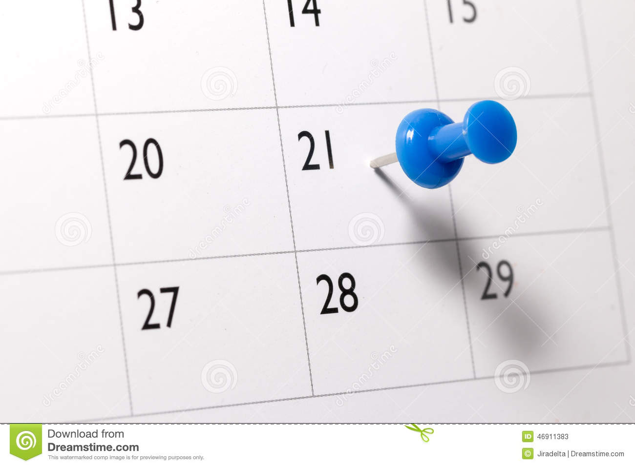 Blue pin on Calendar