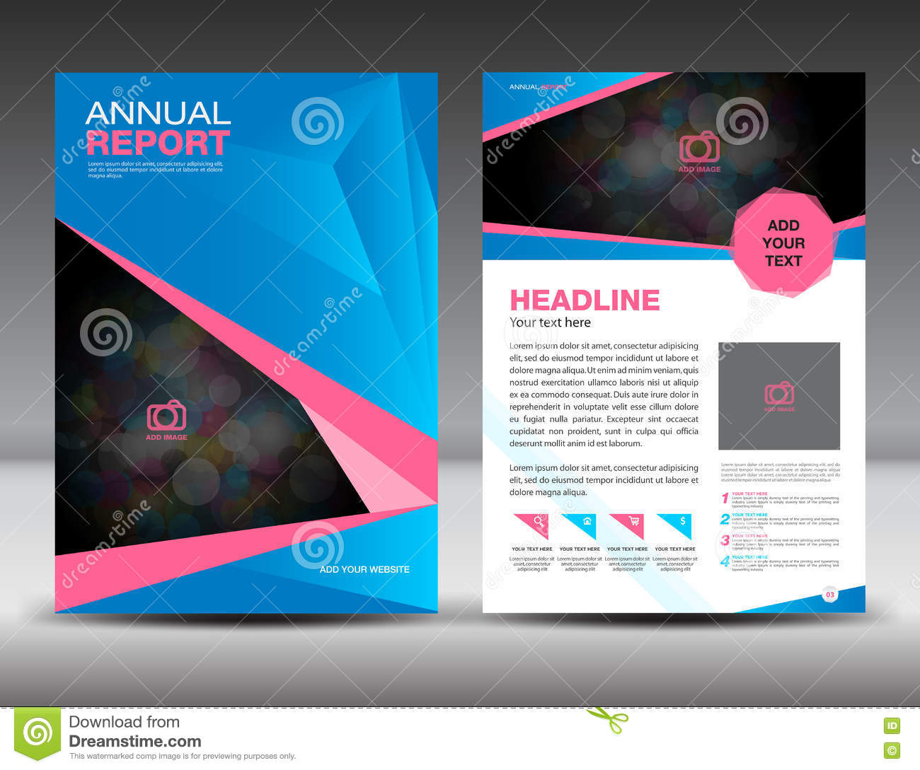 blue and pink annual report template cover design brochure flyer