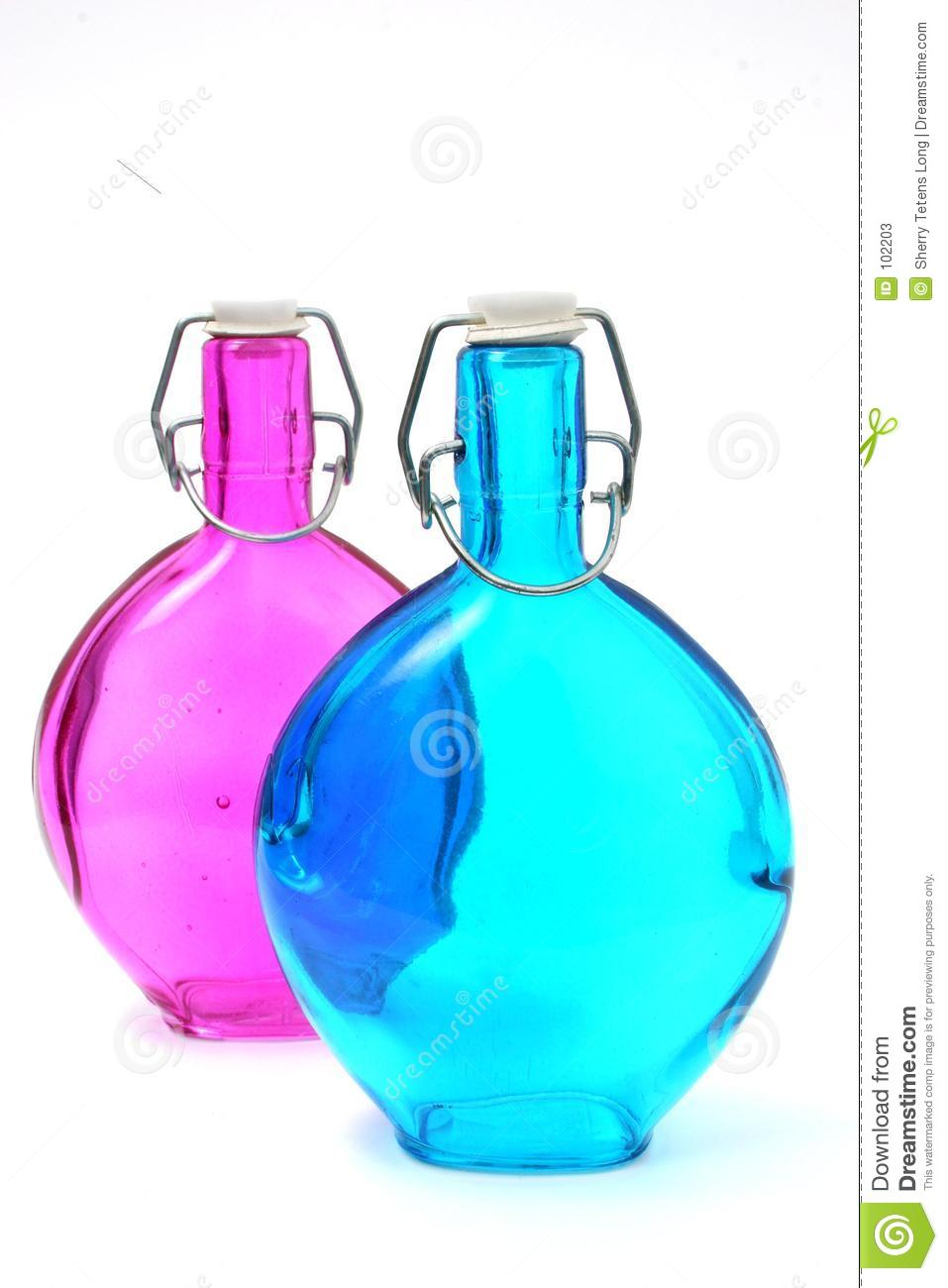 Blue and Pink Antique Bottles