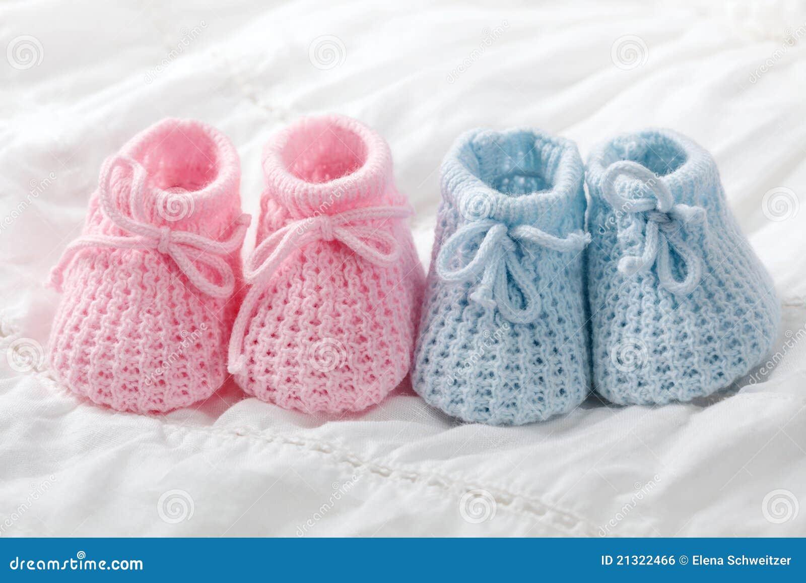 Blue Pink Baby Booties Cute