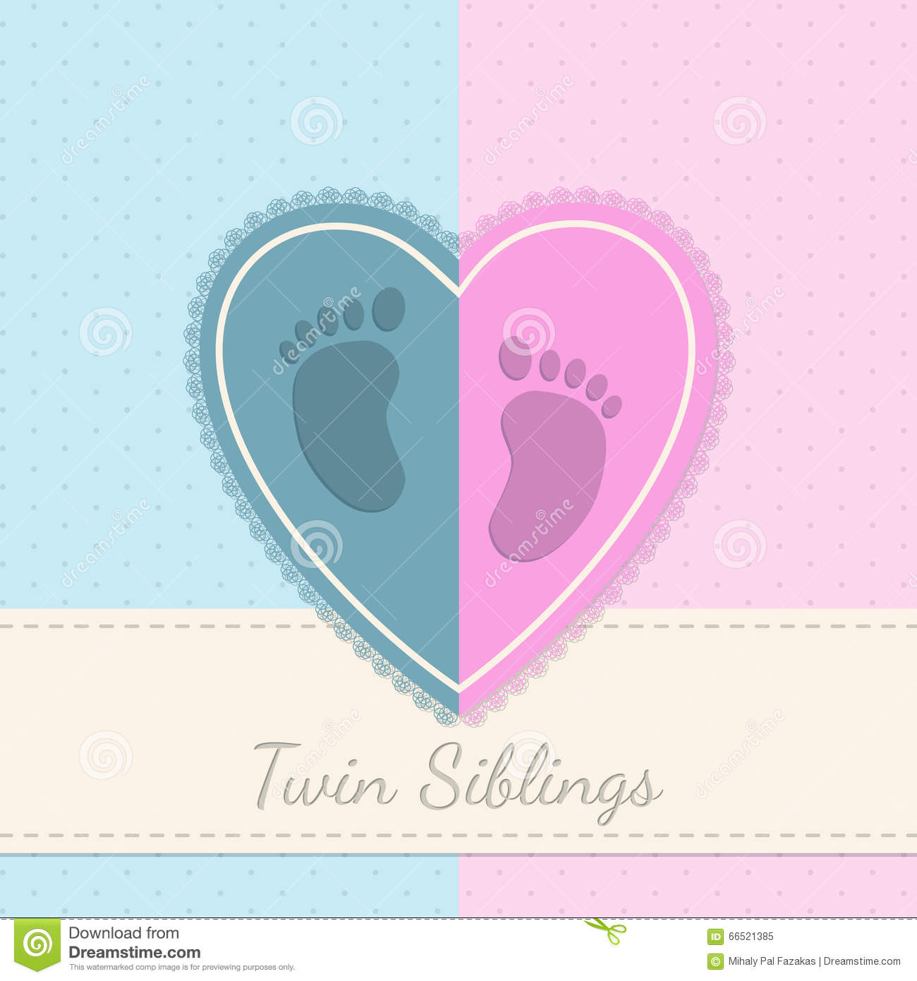 Blue Pink Baby Shower Twin Siblings Invitation Stock Vector