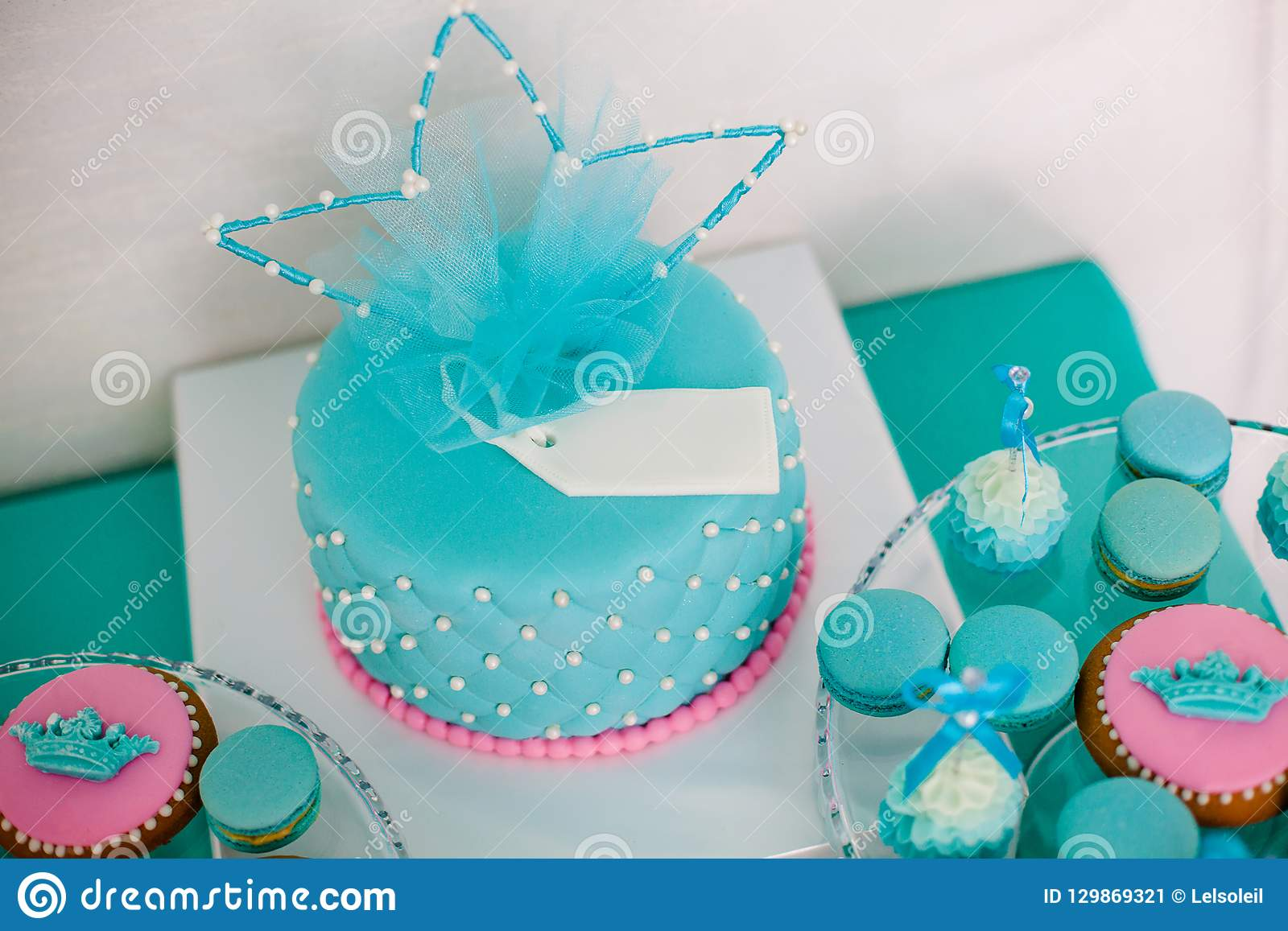 Blue And Pink Birthday Cake With Pearls Big Crown For Little Baby Girl Decorations Party