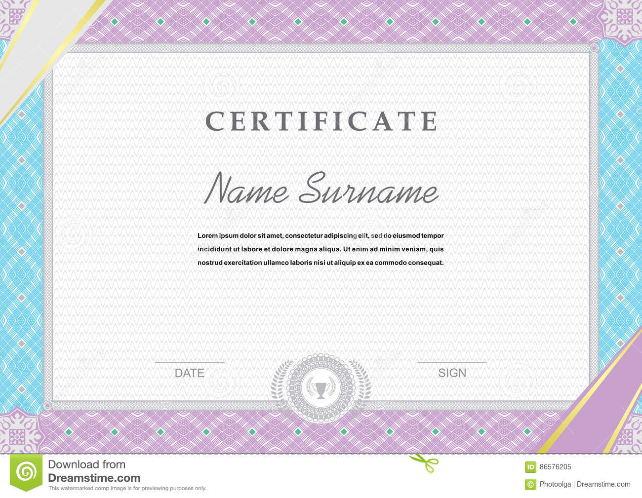 blue pink border official white certificate ribbons in the corners