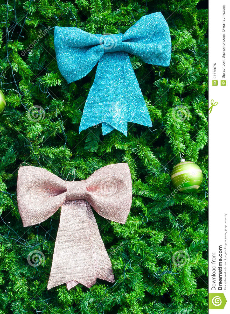 Blue and pink bow on christmas tree royalty free stock - Pink and blue christmas tree ...