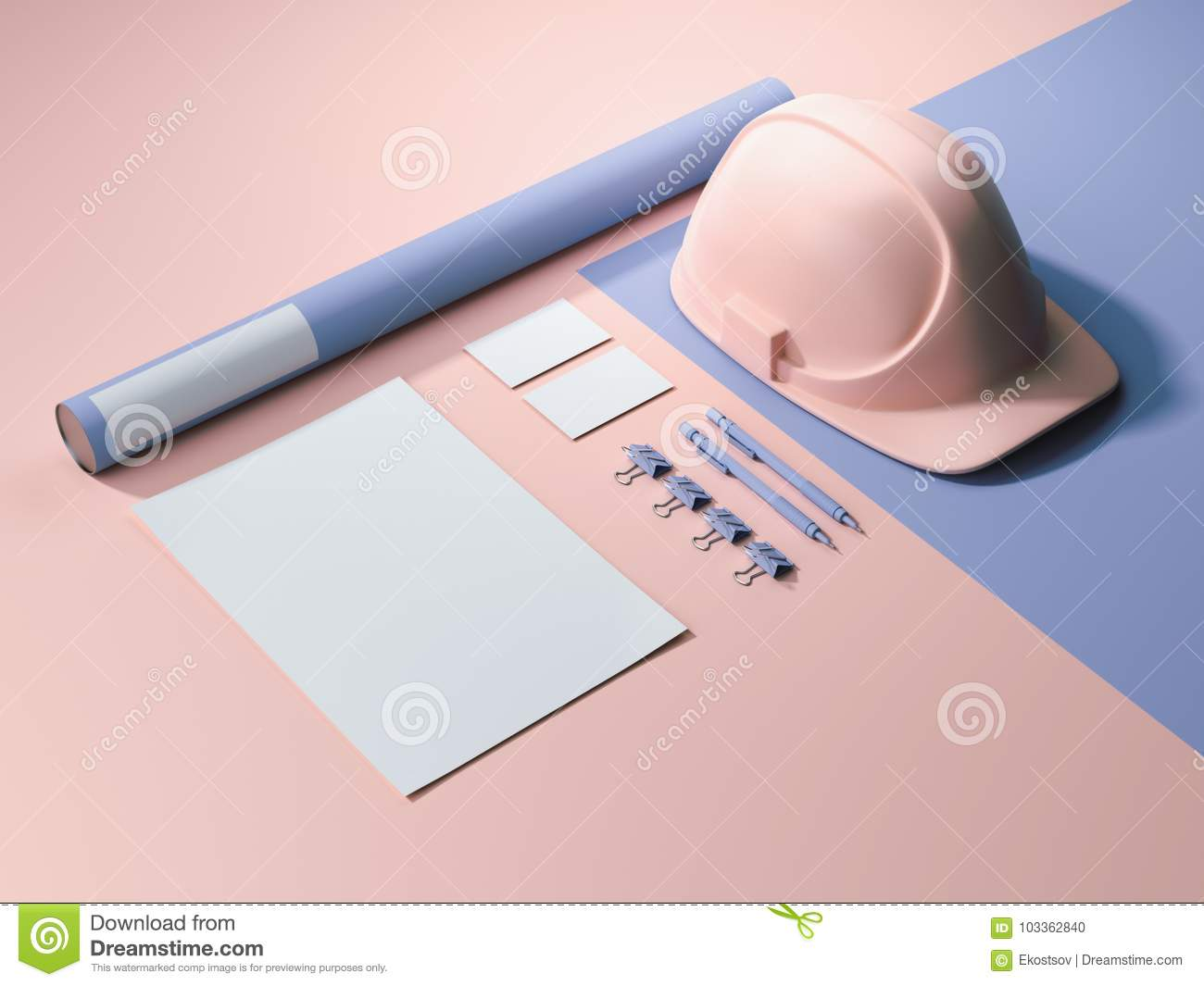 acab59141bb Blue-pink branding mockup with blank sheets of paper