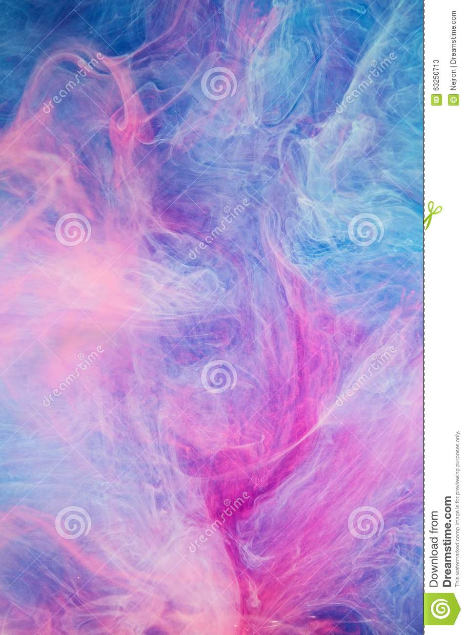 Blue Pink Clouds Of Ink In Liquid